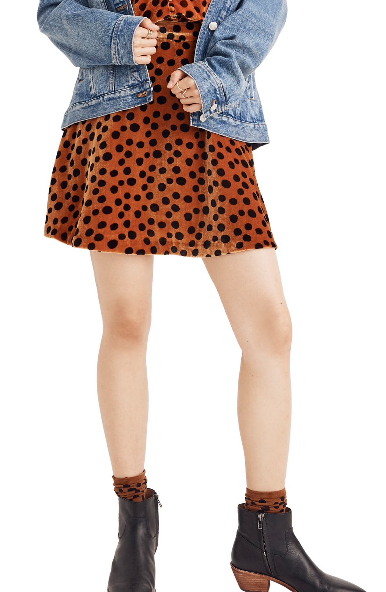 Velvet Circle Miniskirt,                             Main thumbnail 1, color,                             LEOPARD DOT BURNT SIENNA