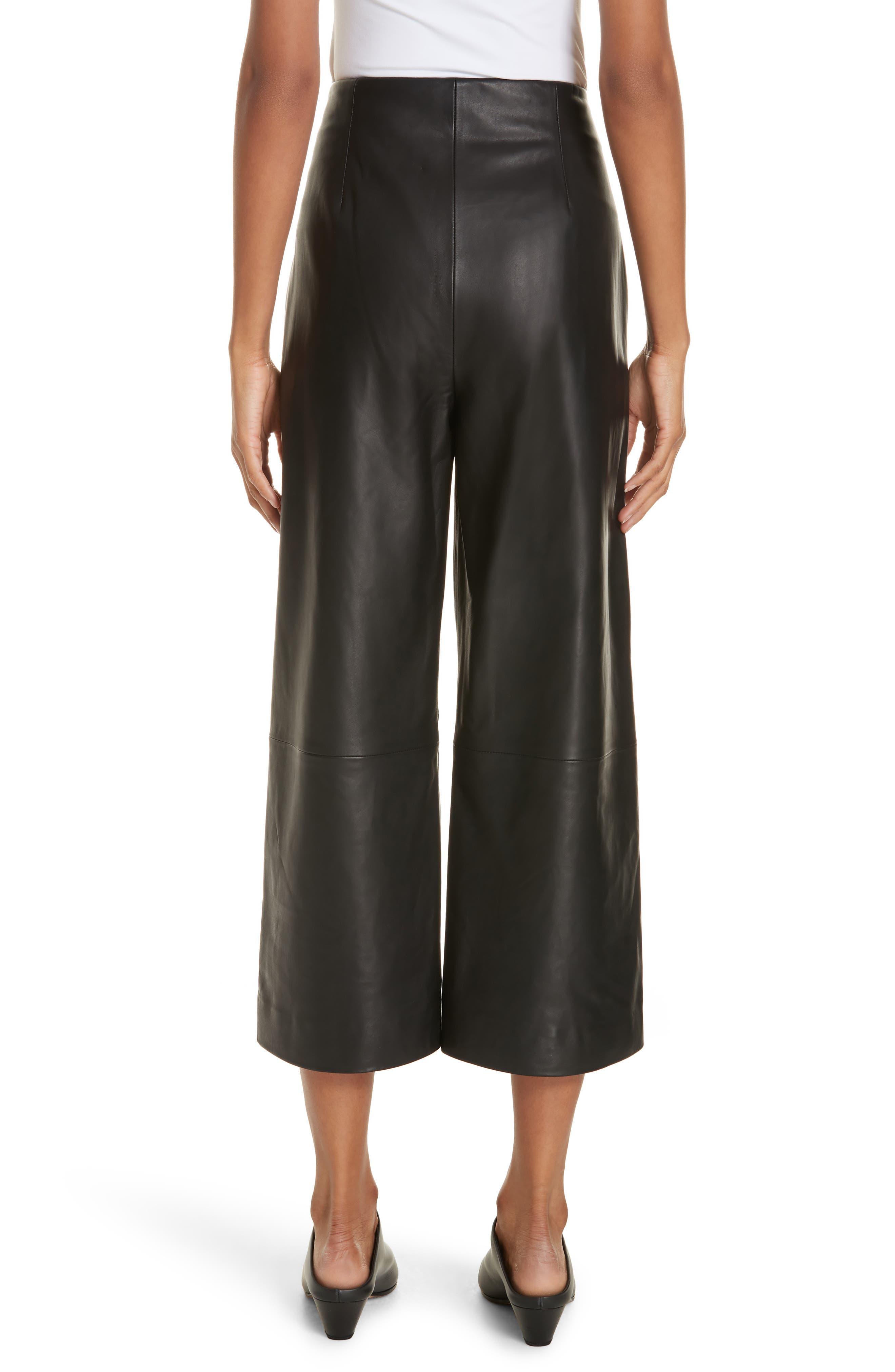 Wide Leg Crop Leather Pants,                             Alternate thumbnail 2, color,                             BLACK