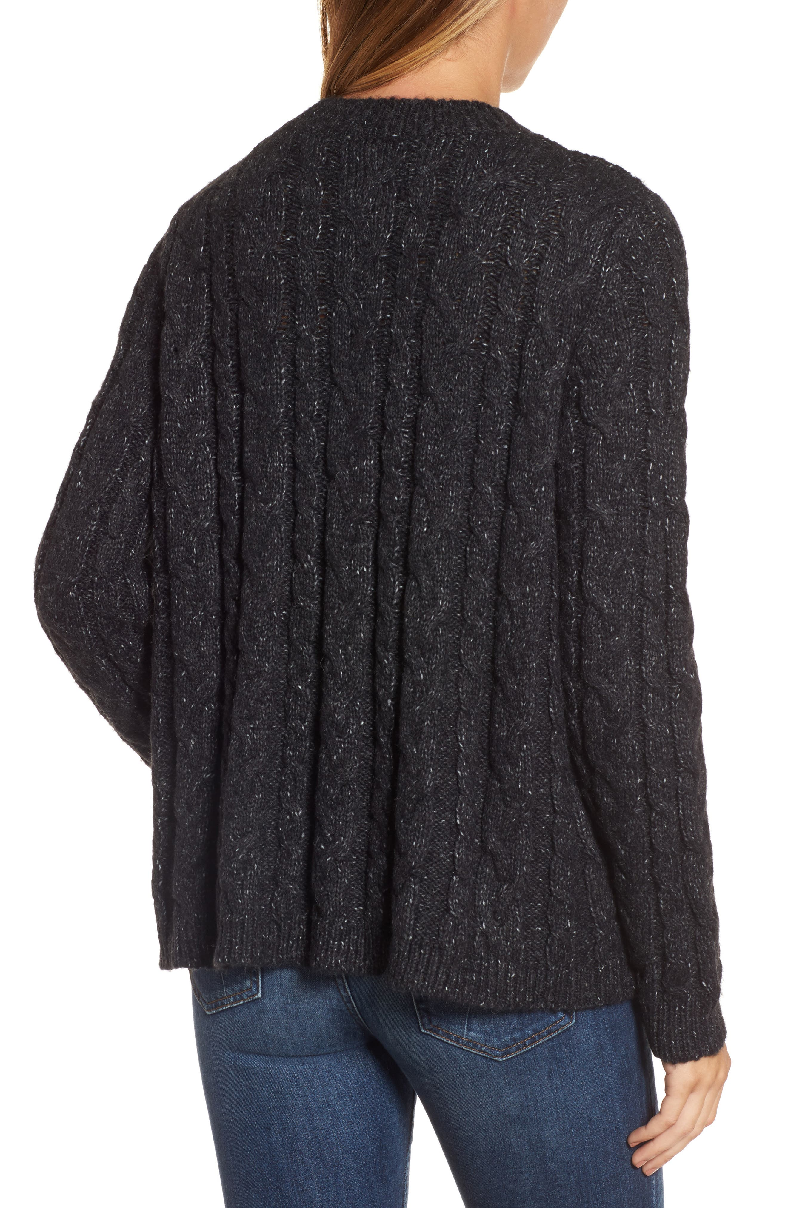 Trapeze Fit Cable Knit Sweater,                             Alternate thumbnail 2, color,                             001