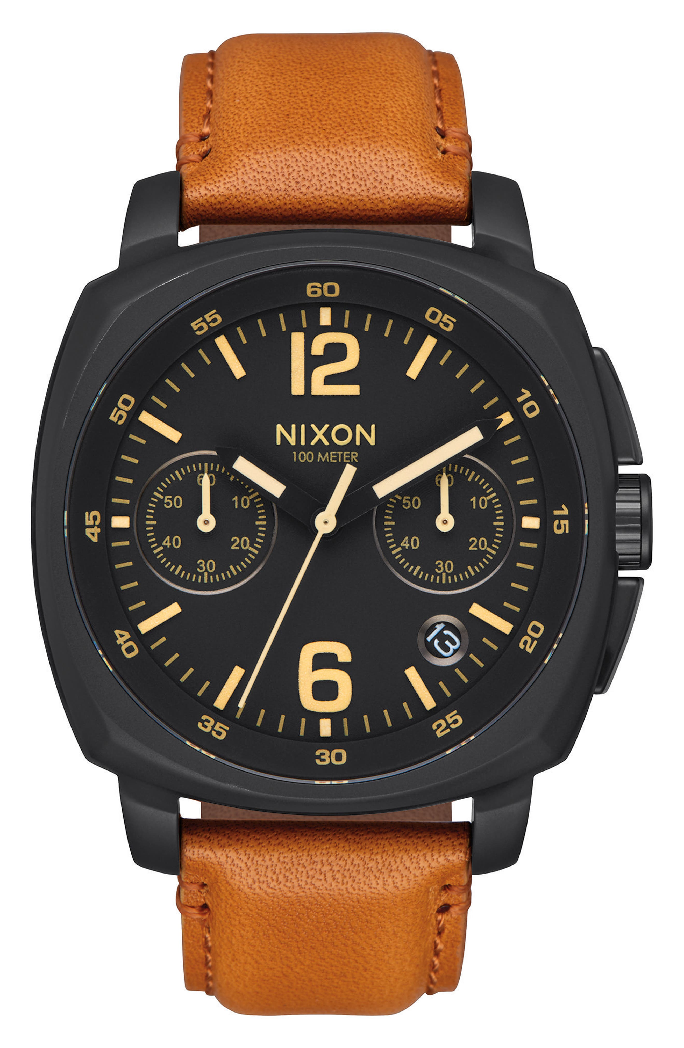 Charger Chronograph Leather Strap Watch, 42mm,                             Main thumbnail 1, color,                             201
