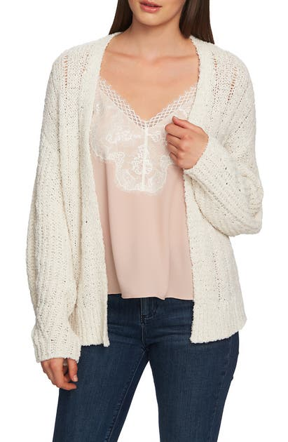 1.state Tops POINTELLE STITCH OPEN CARDIGAN
