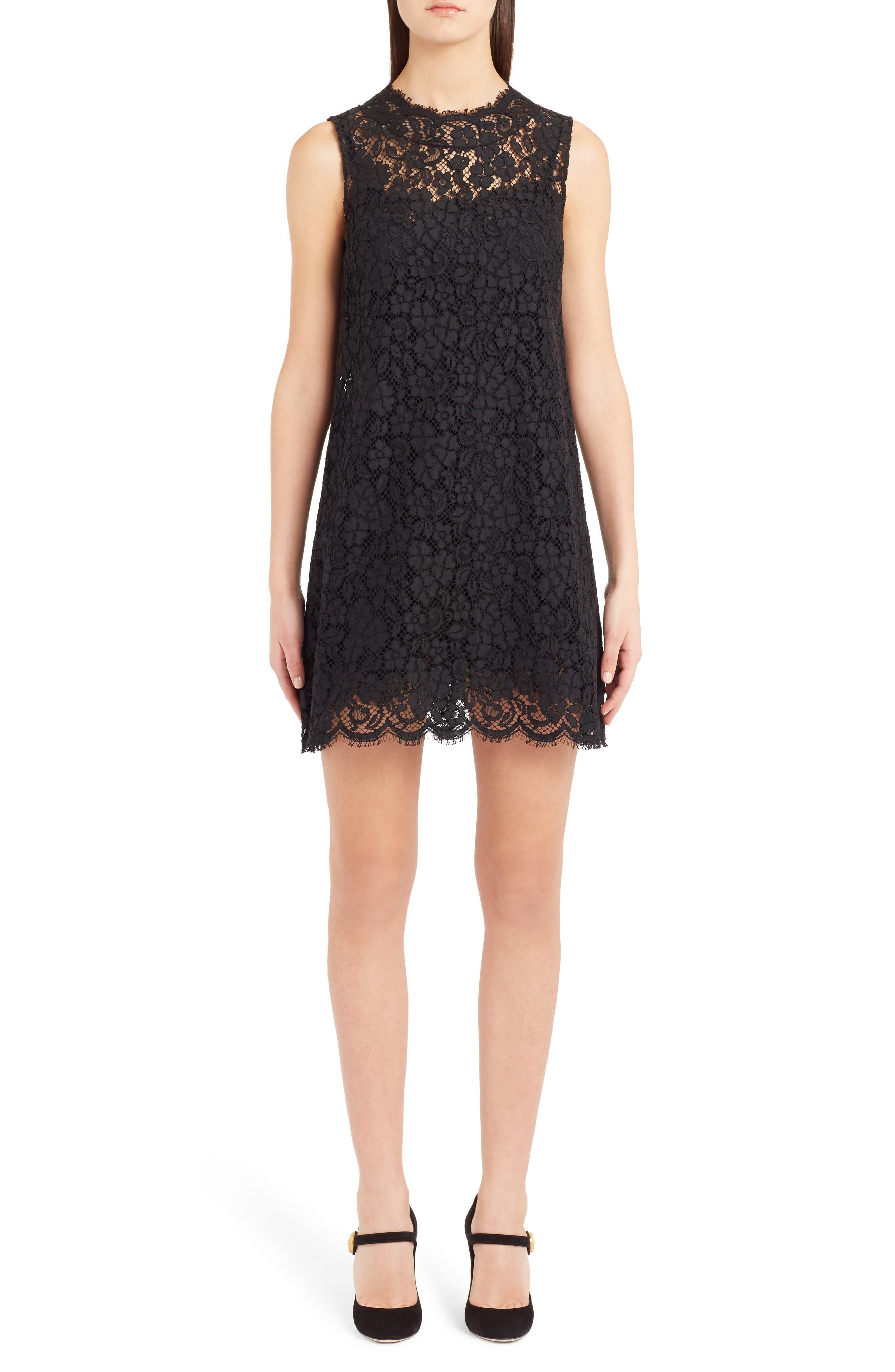 Dolce & gabbana Lace Shift Dress, US / 40 IT - Black