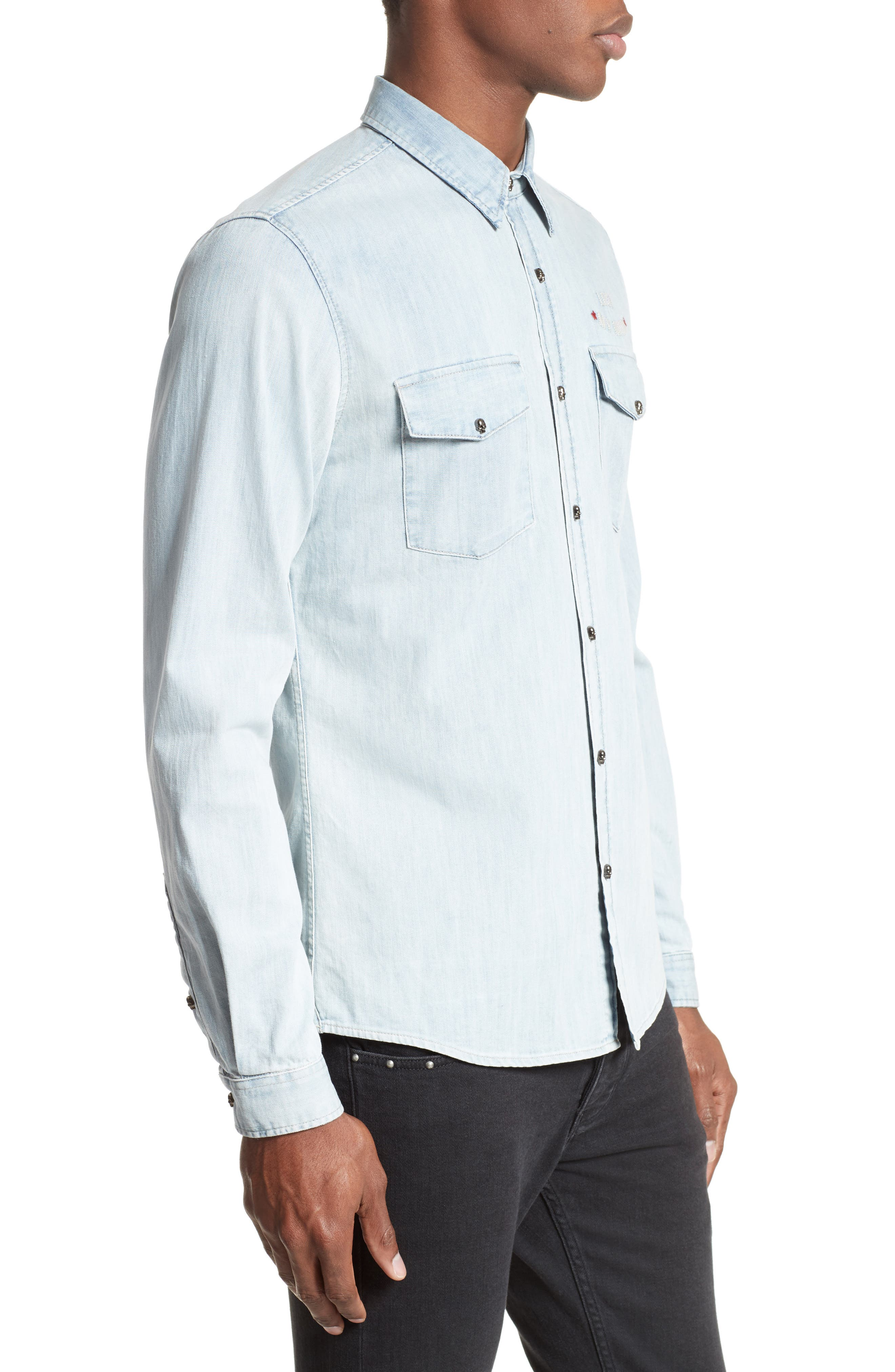 Embroidered Denim Shirt,                             Alternate thumbnail 4, color,                             400
