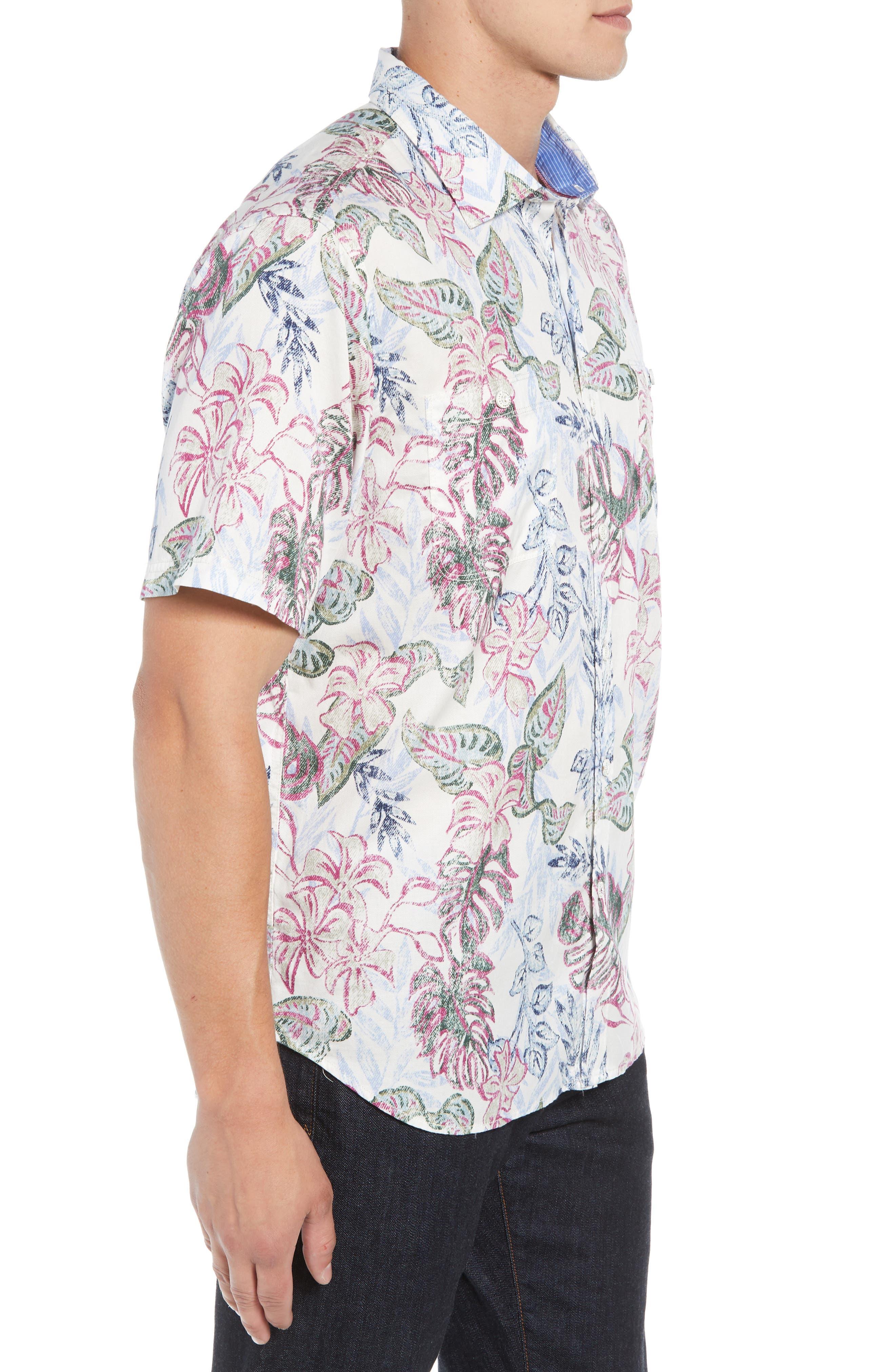 Diego Fronds Jacquard Short Shirt,                             Alternate thumbnail 3, color,                             DEEP MOREL