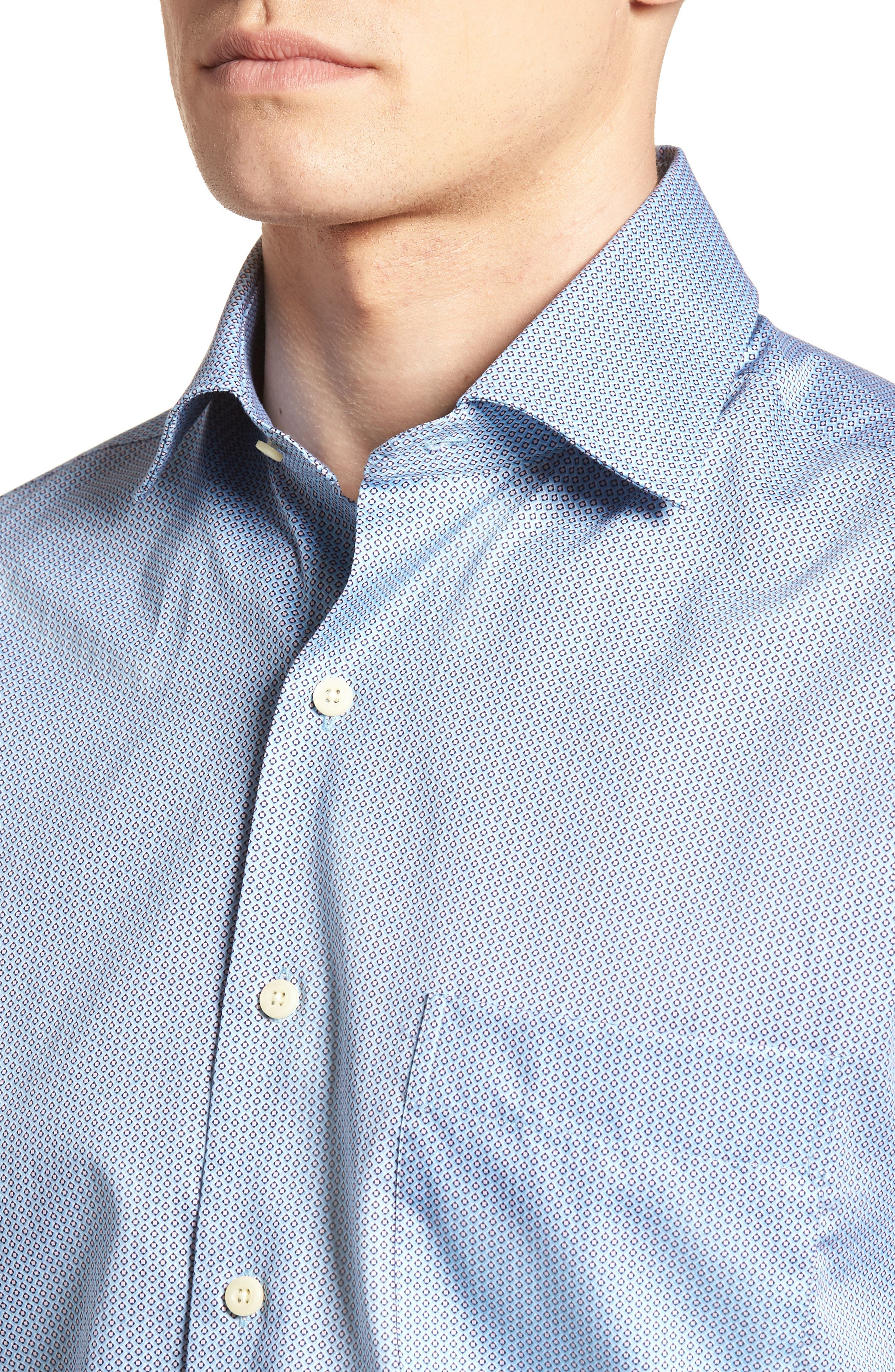 Geo Petal Sport Shirt,                             Alternate thumbnail 4, color,                             GROTTO BLUE