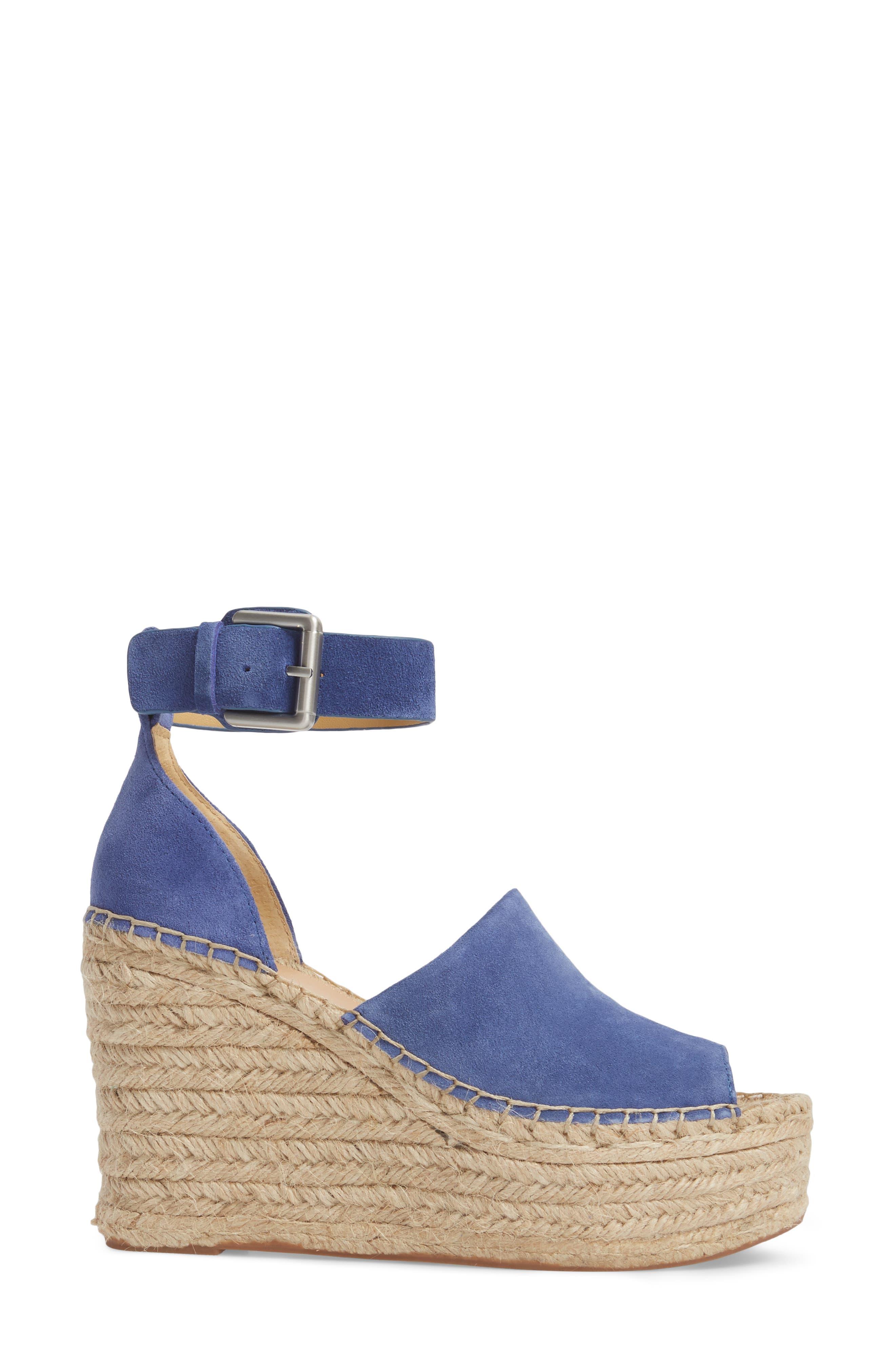 Adalyn Espadrille Wedge Sandal,                             Alternate thumbnail 3, color,                             BLUE SUEDE