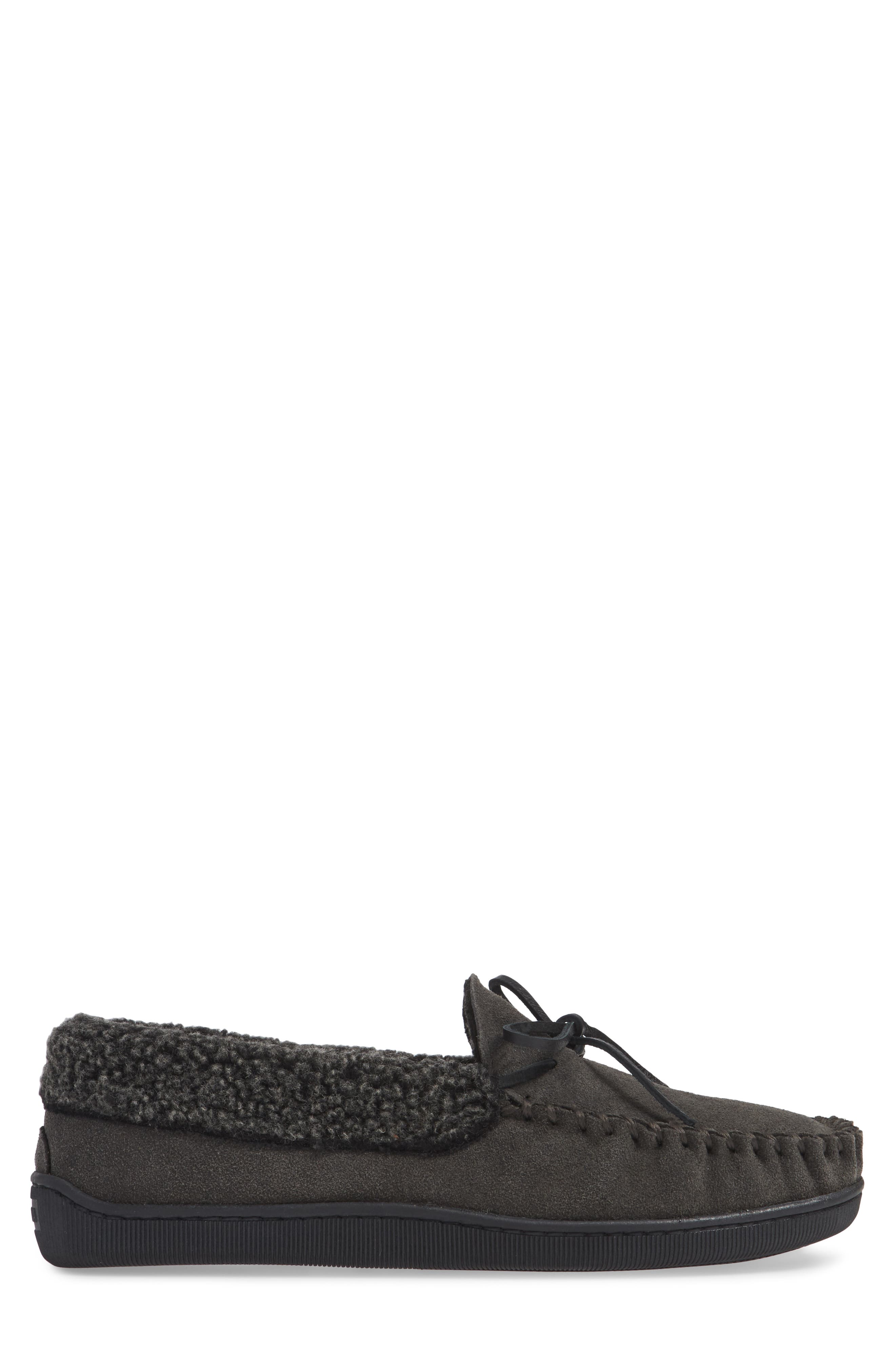 Allen Moccasin Slipper,                             Alternate thumbnail 3, color,                             CHARCOAL SUEDE