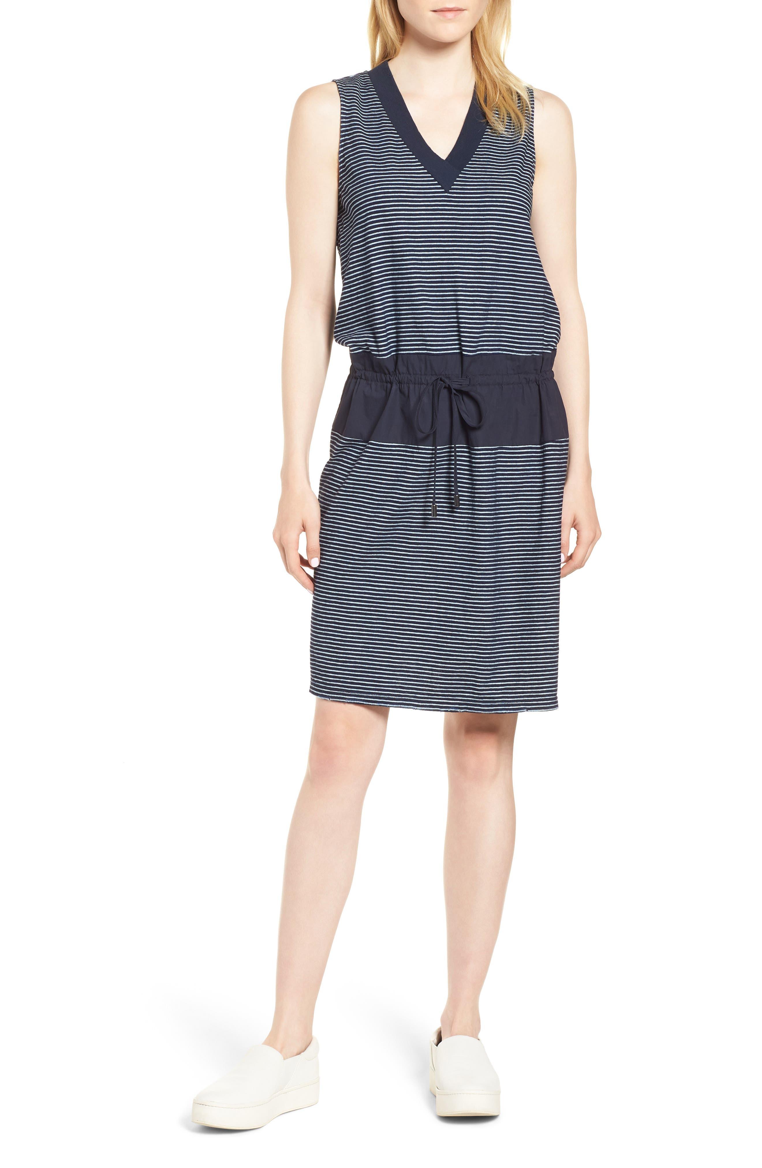 Mixed Media Drawstring Dress,                             Main thumbnail 1, color,                             495