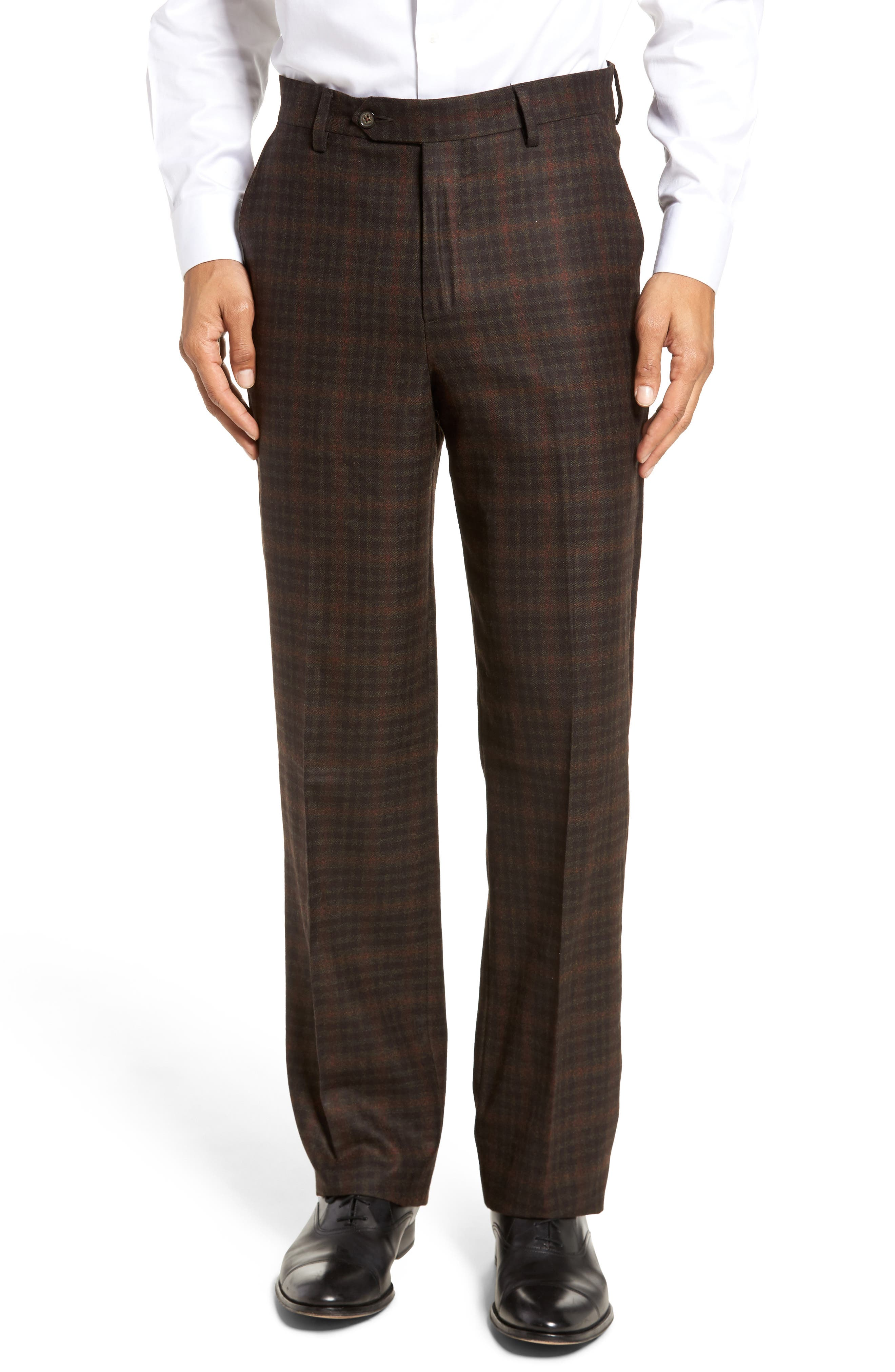 Flat Front Plaid Wool Trousers,                         Main,                         color, 200