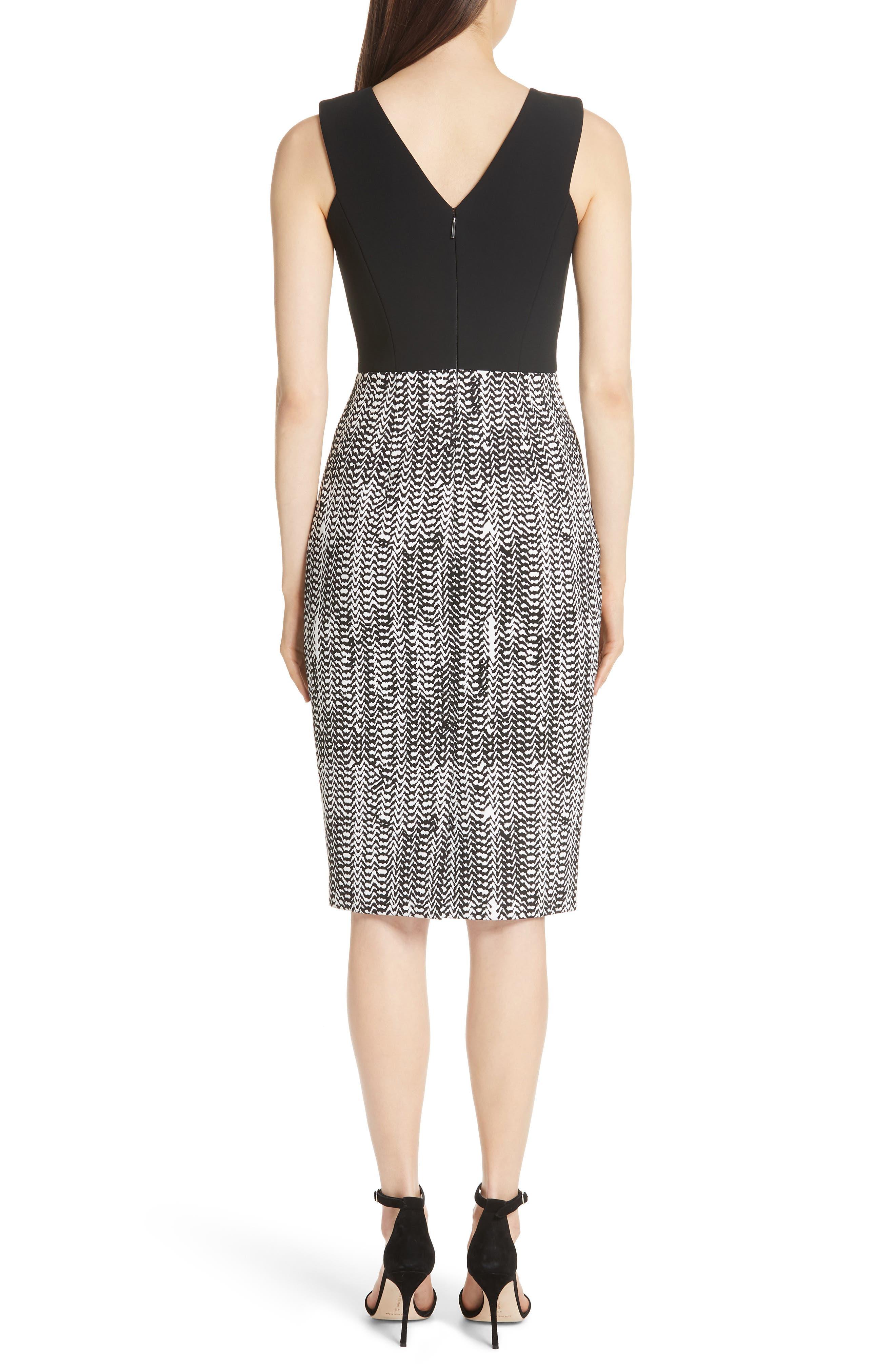 Herringbone Jacquard Sheath Dress,                             Alternate thumbnail 2, color,                             BLACK/ CHALK