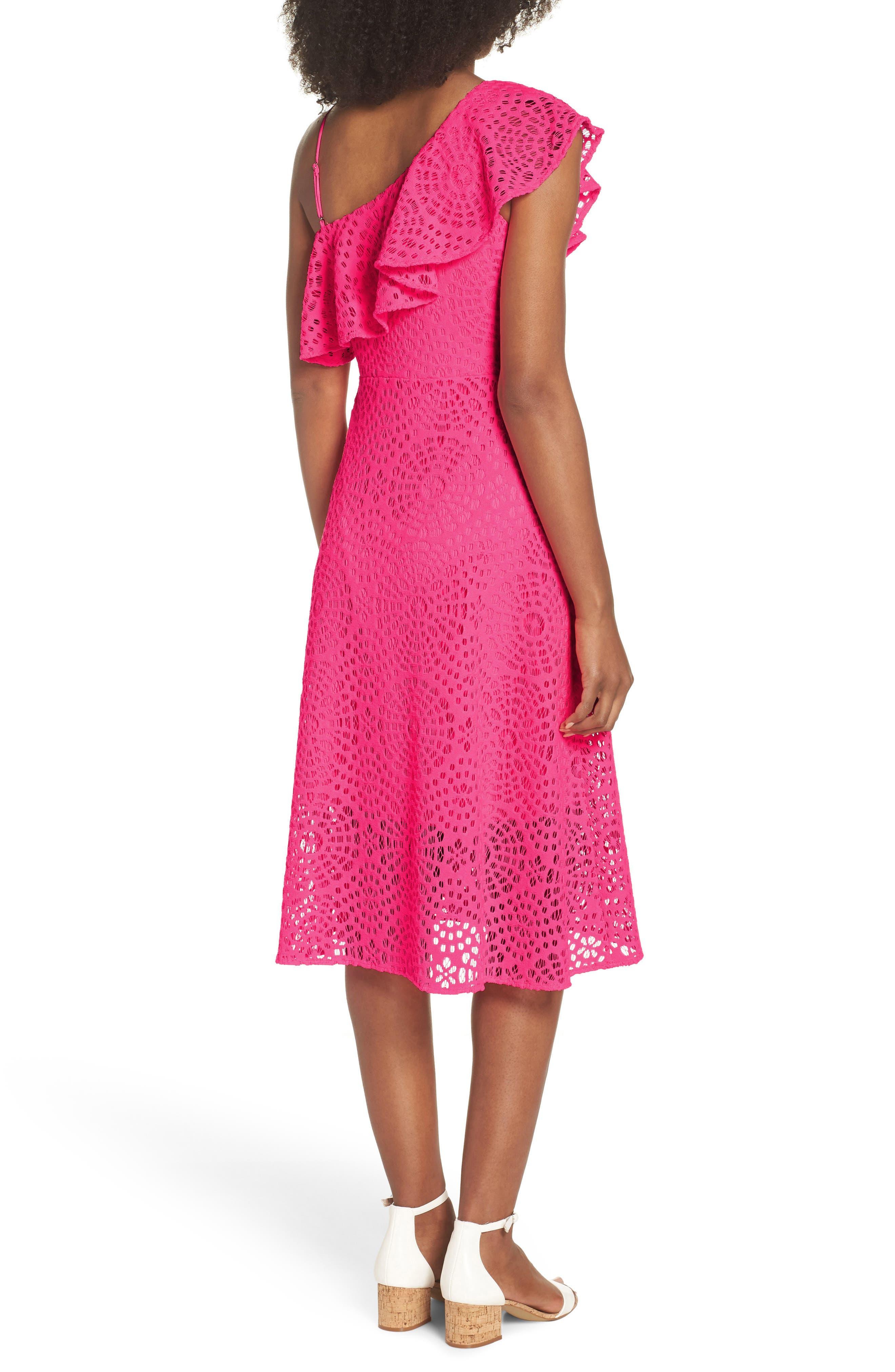 Callisto Ruffle One-Shoulder Midi Dress,                             Alternate thumbnail 2, color,                             PINK SEA URCHIN TERRY LACE