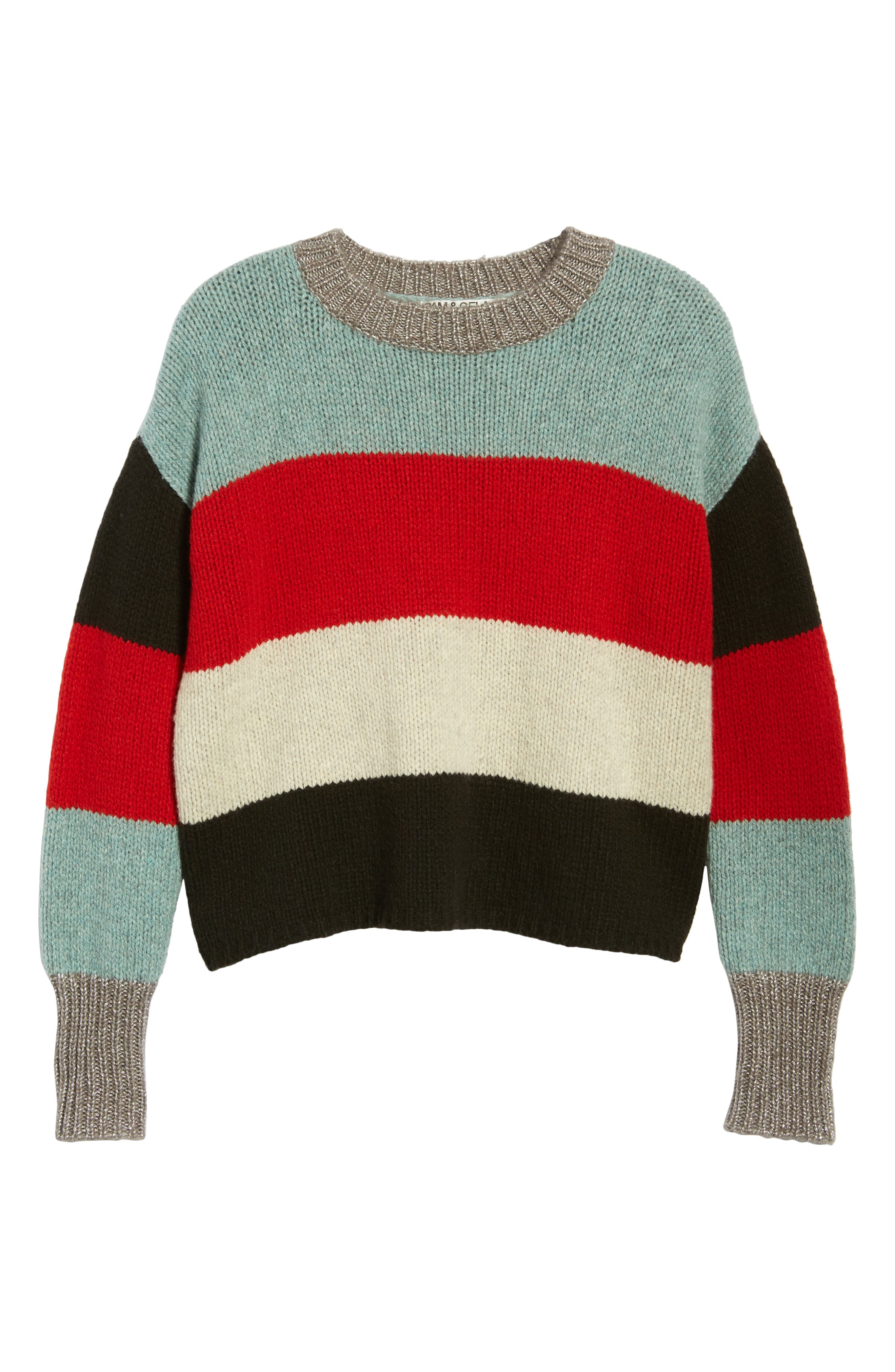Stripe Crop Sweater,                             Alternate thumbnail 6, color,                             MULTICOLOR