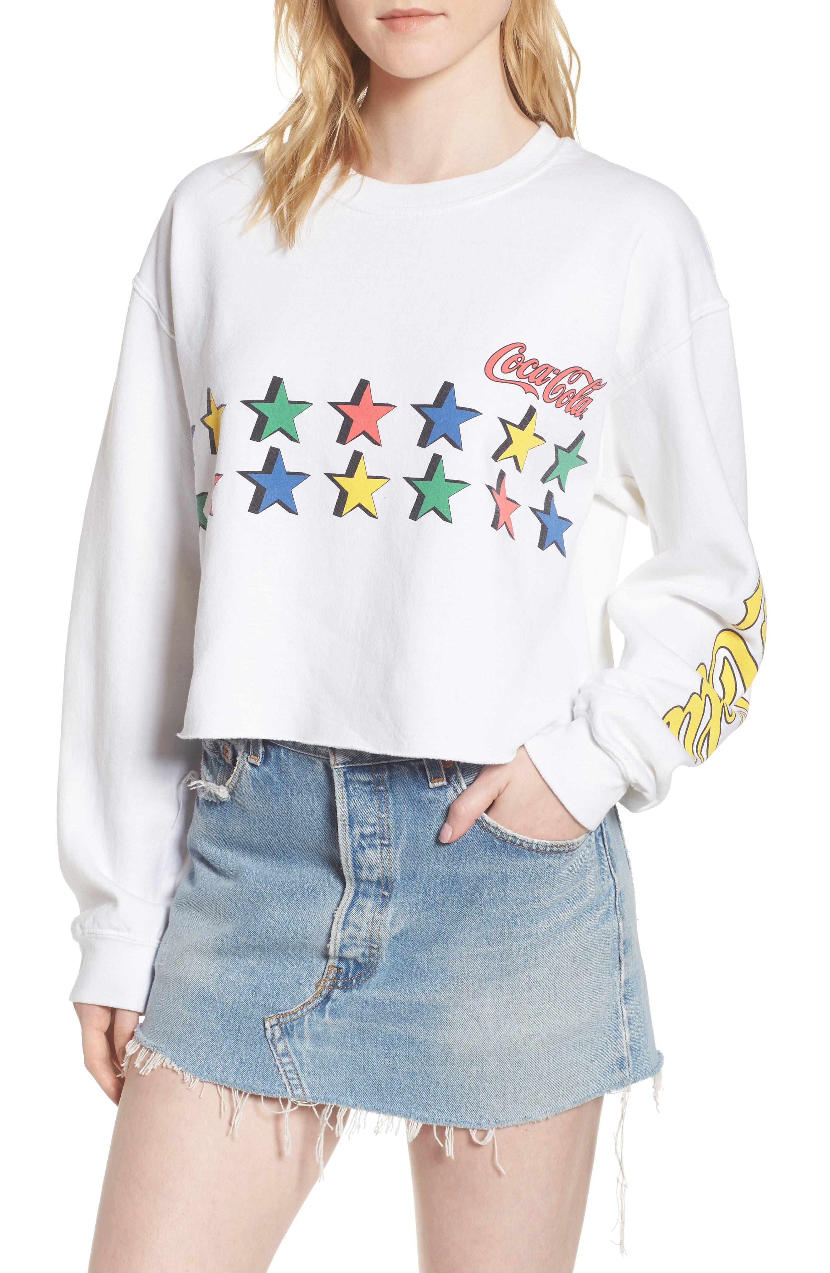 Coke Stars Crop Sweatshirt,                         Main,                         color,