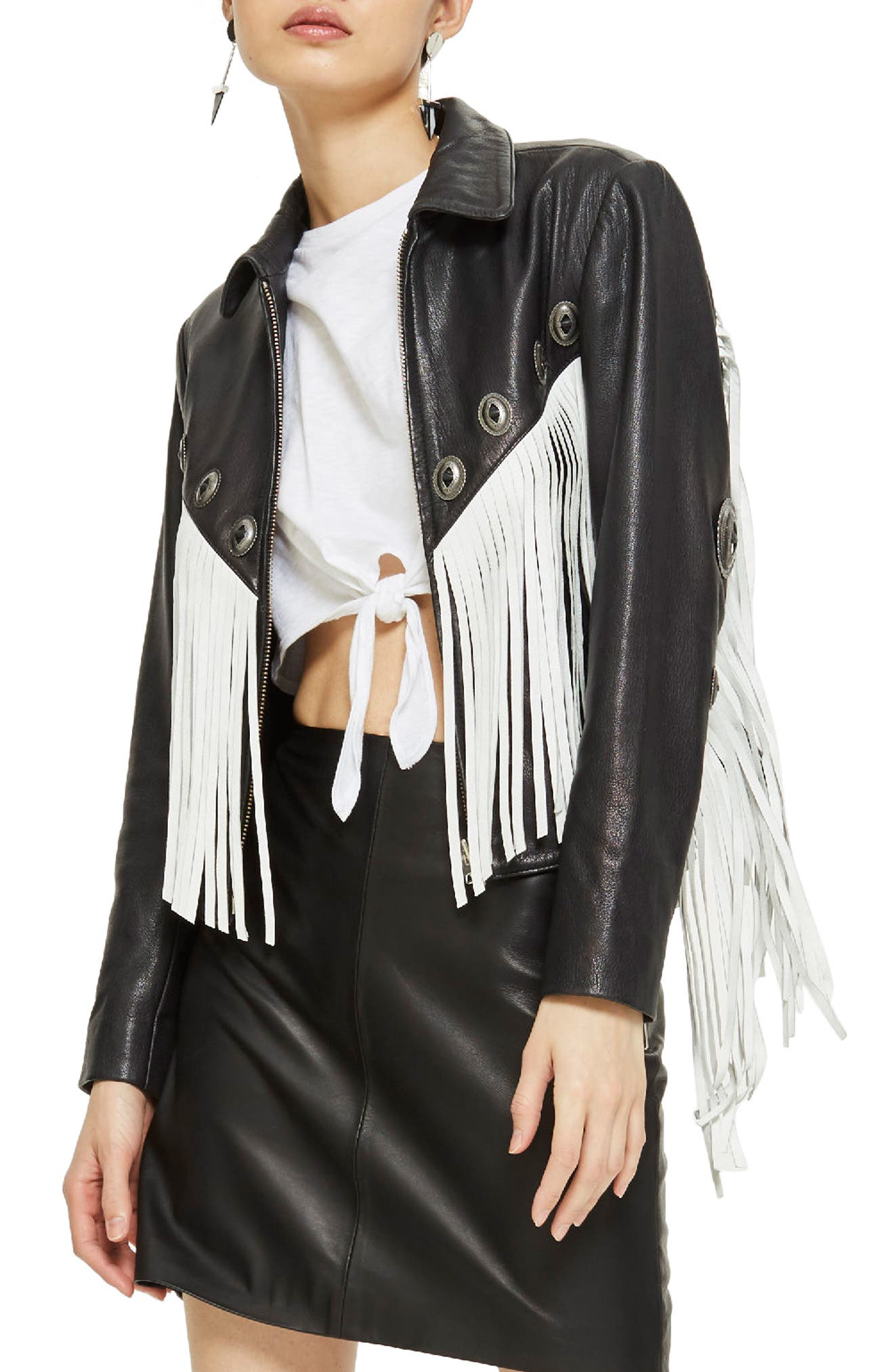Austin Fringe Leather Biker Jacket,                         Main,                         color, 002