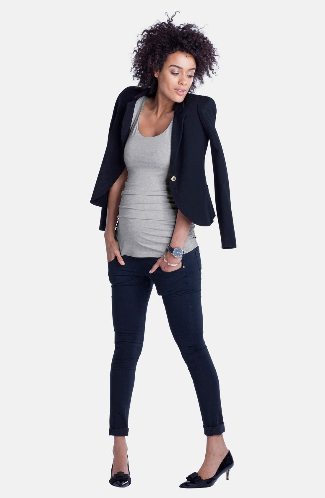 'Zadie' Stretch Maternity Skinny Jeans,                             Alternate thumbnail 4, color,                             INDIGO