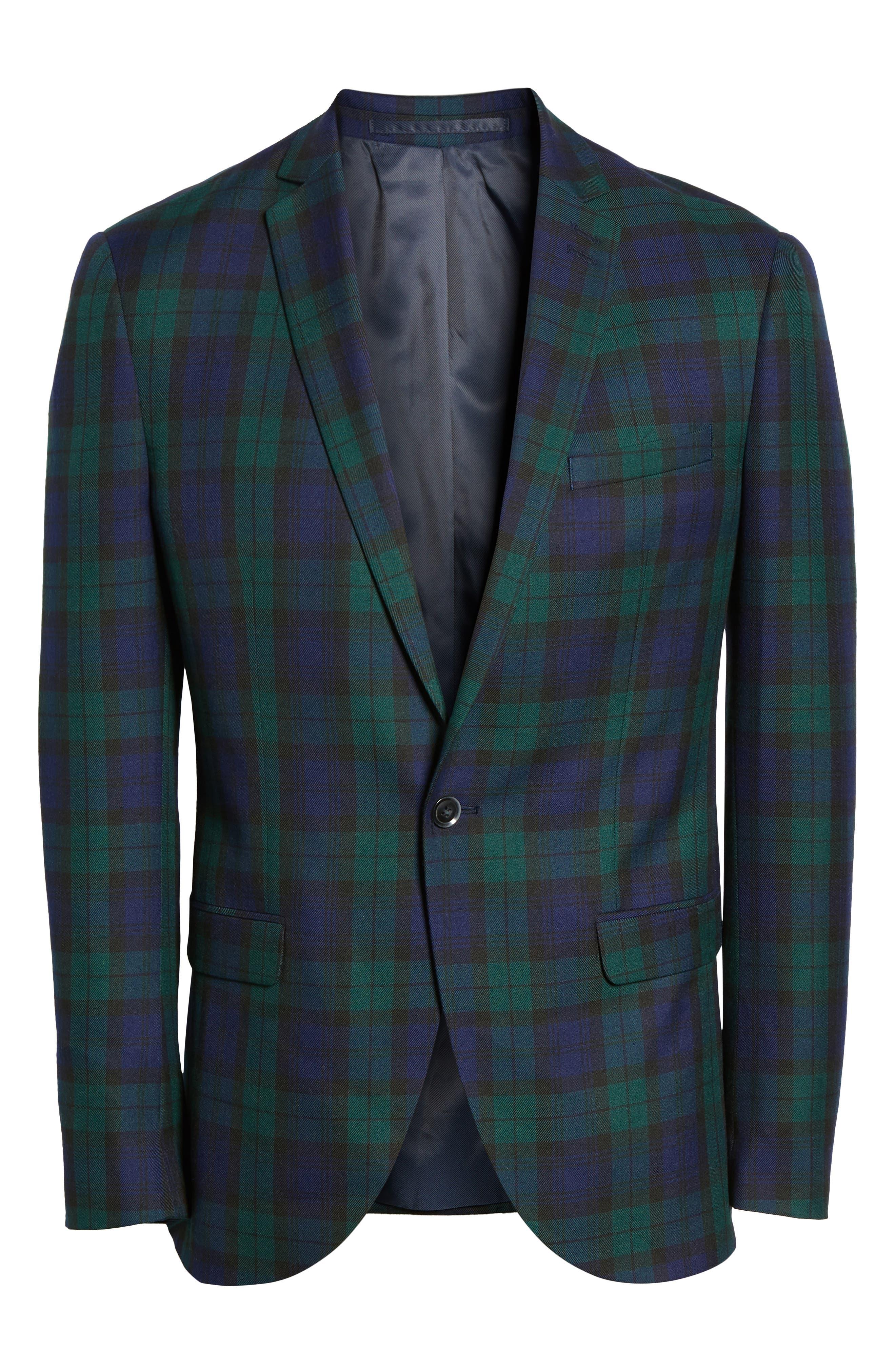 Plaid Slim Fit Suit Jacket,                             Alternate thumbnail 5, color,                             NAVY MULTI