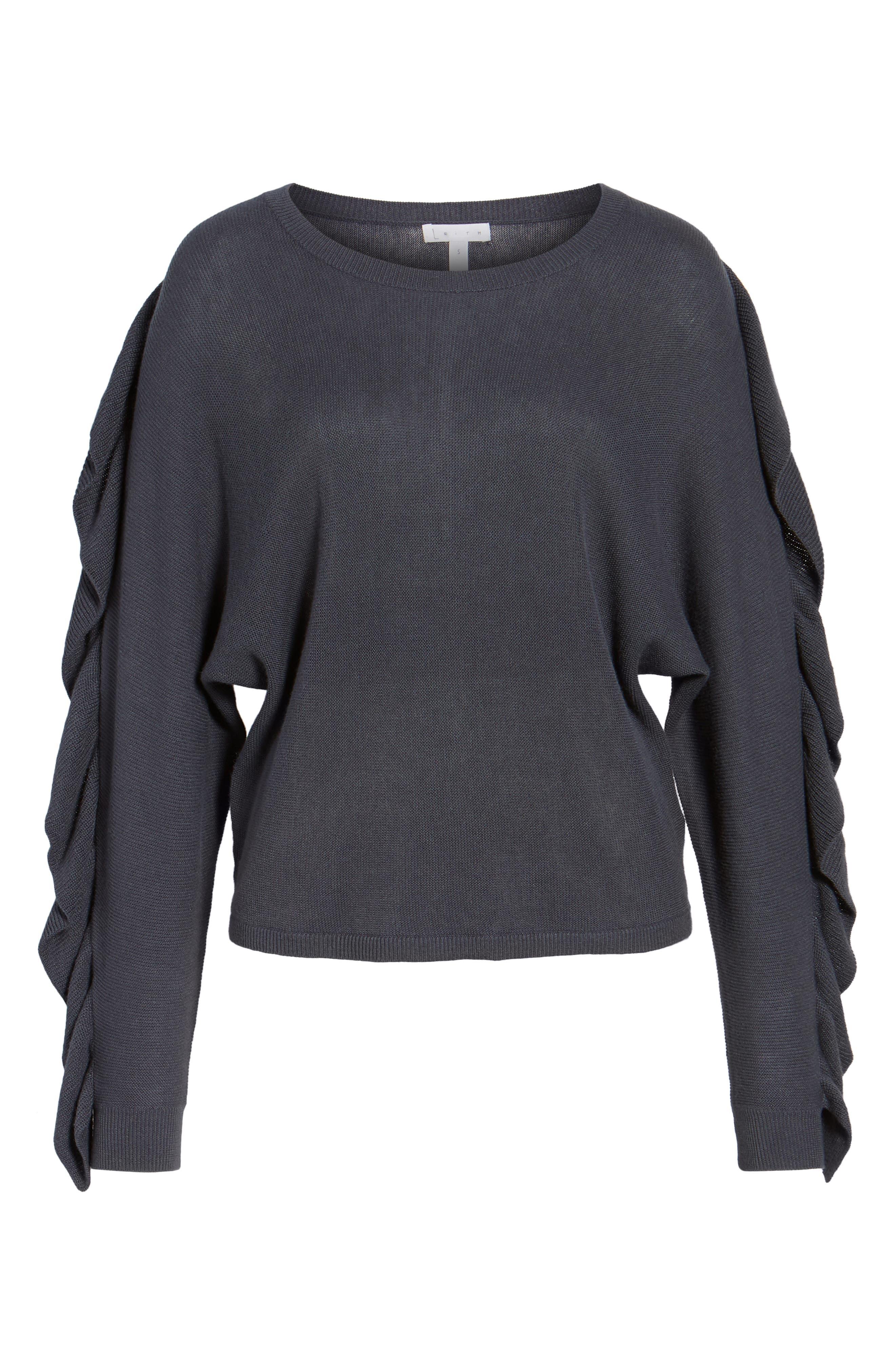 Ruffle Sleeve Sweater,                             Alternate thumbnail 21, color,