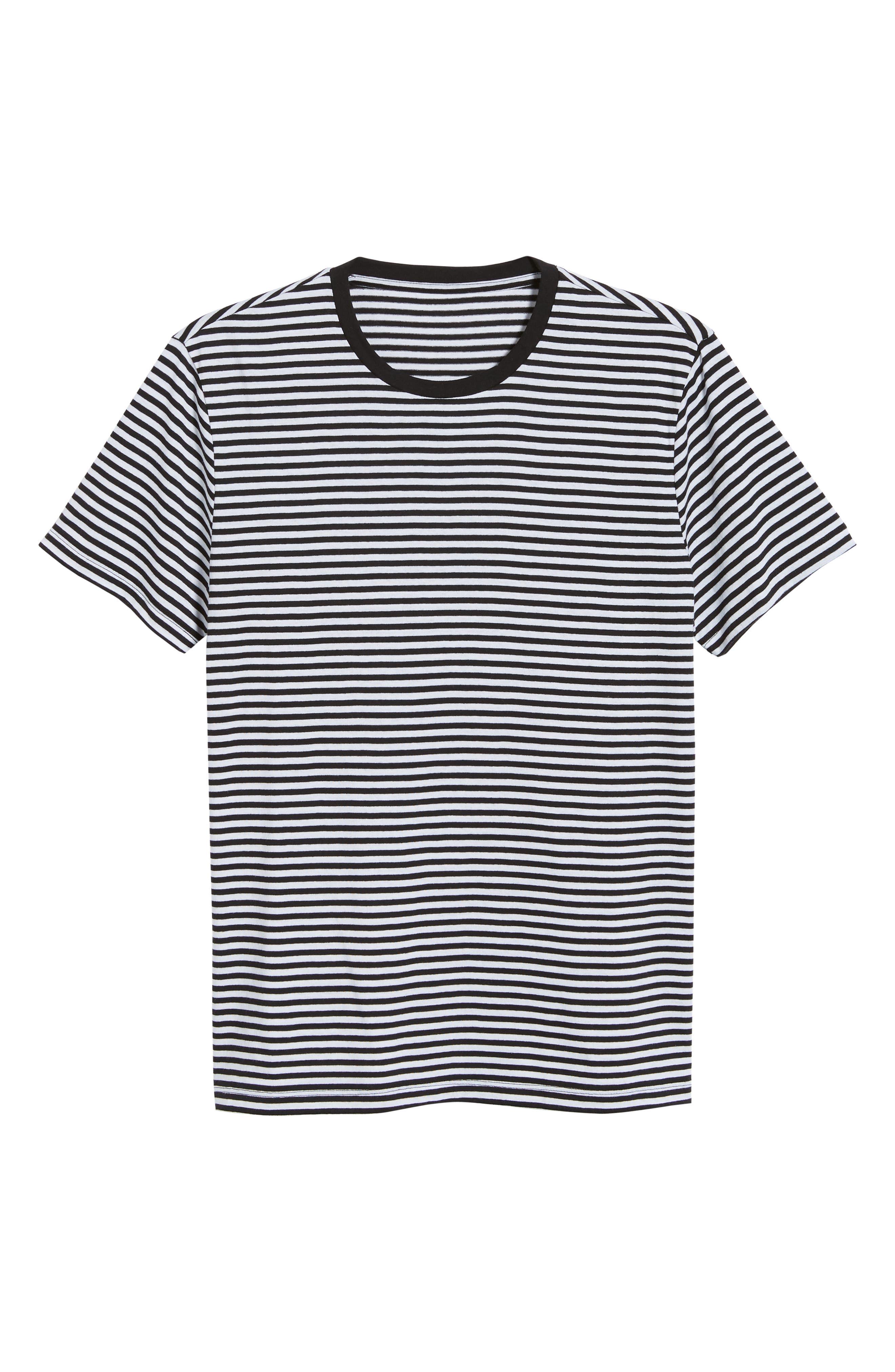 Stripe Crewneck T-Shirt,                             Alternate thumbnail 6, color,                             BLACK ROCK - WHITE STRIPE