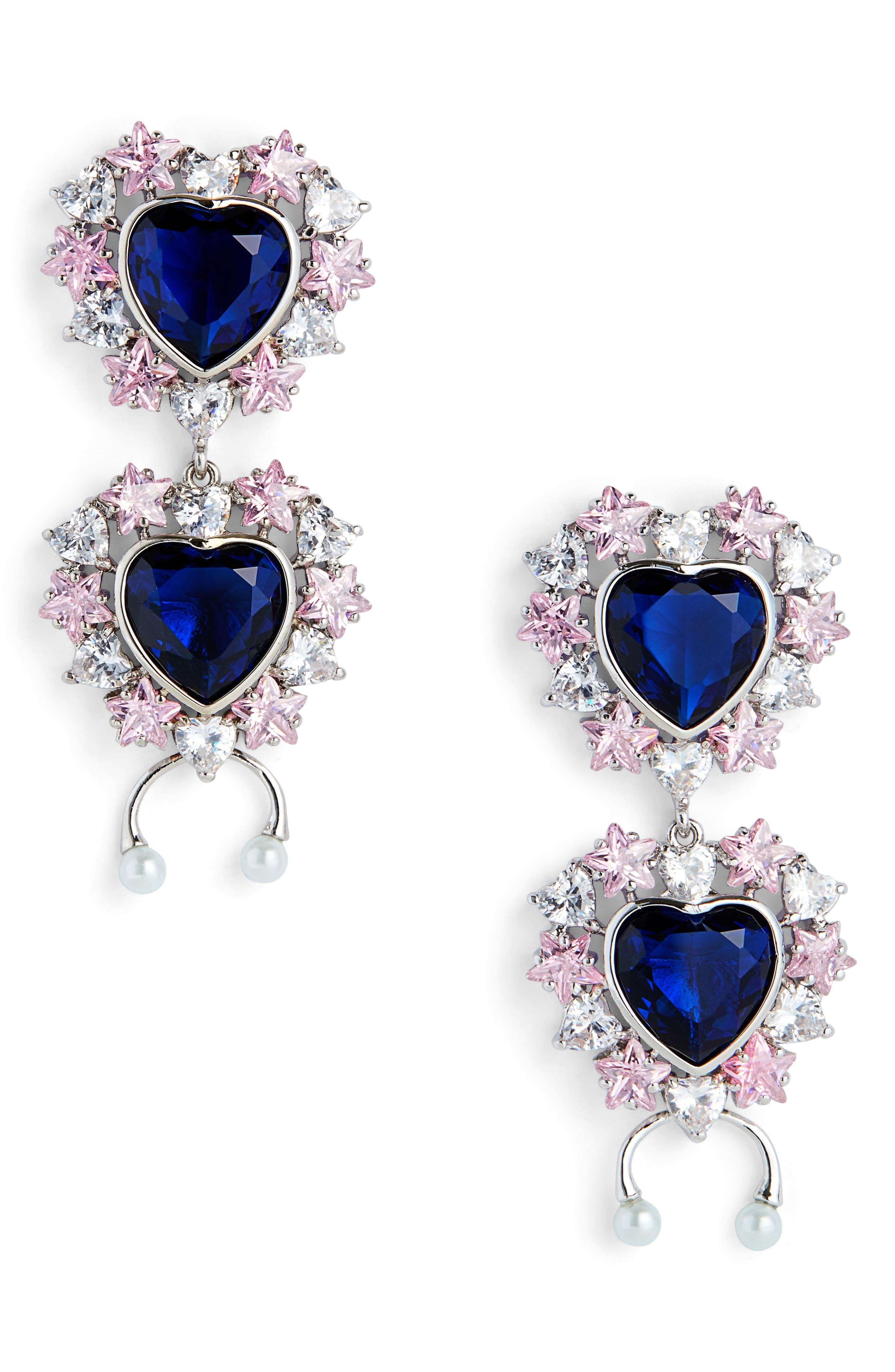 JIWINAIA Studded Heart Earrings in Rhodium Brass