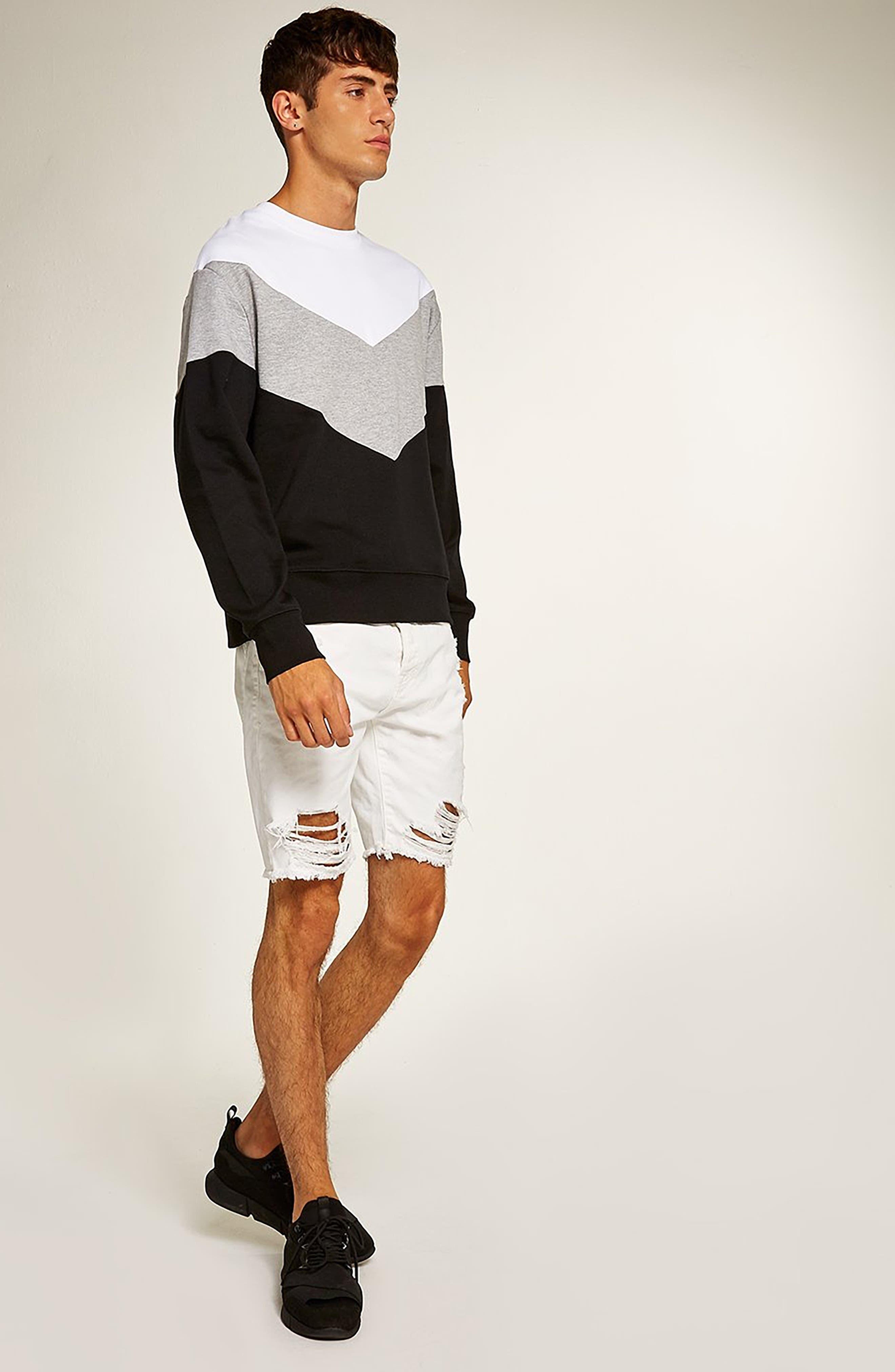 Slim Fit Shredded Jean Shorts,                             Alternate thumbnail 5, color,                             WHITE