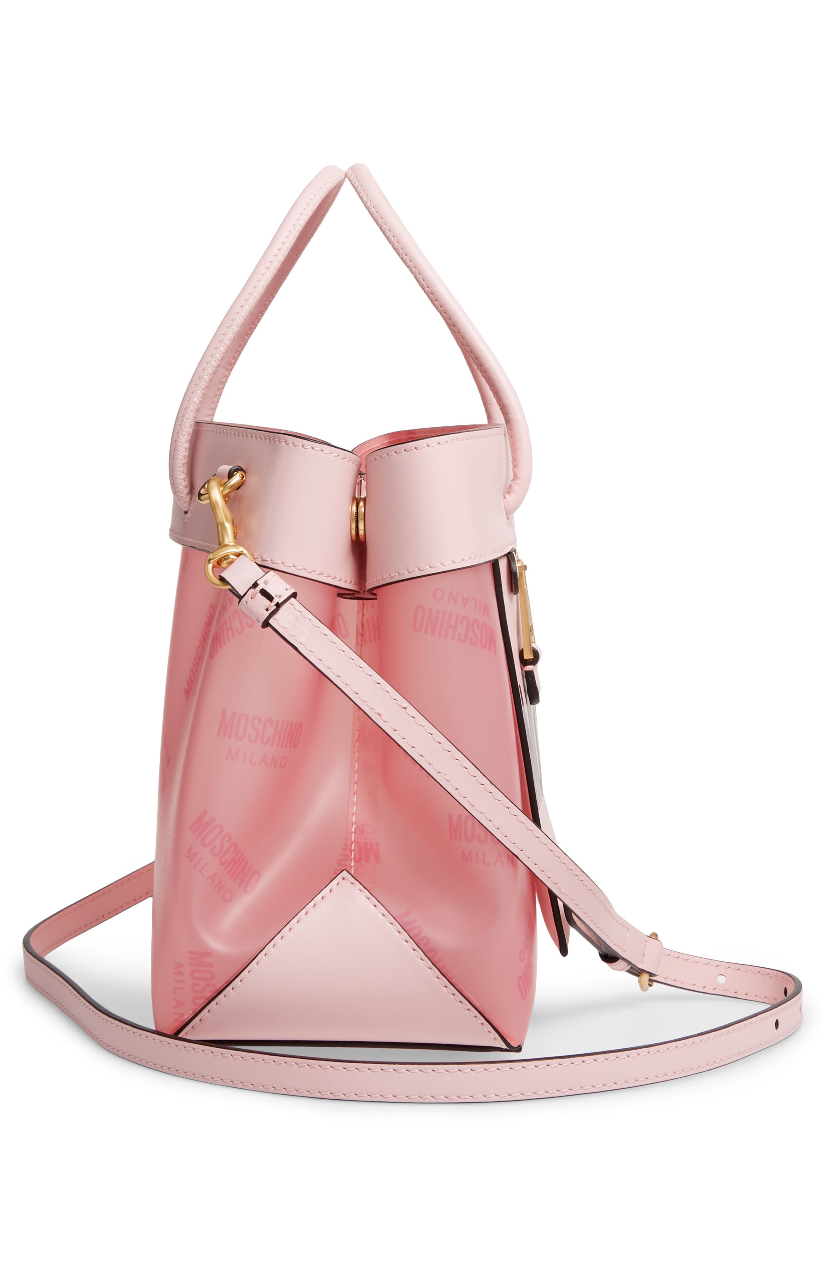 MOSCHINO,                             Translucent Logo Tote,                             Alternate thumbnail 5, color,                             PINK