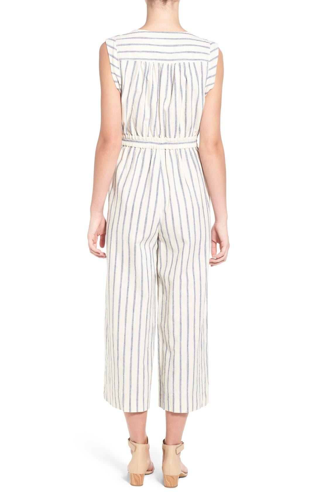 Ikat Stripe Tie Front Culotte Jumpsuit,                             Alternate thumbnail 3, color,