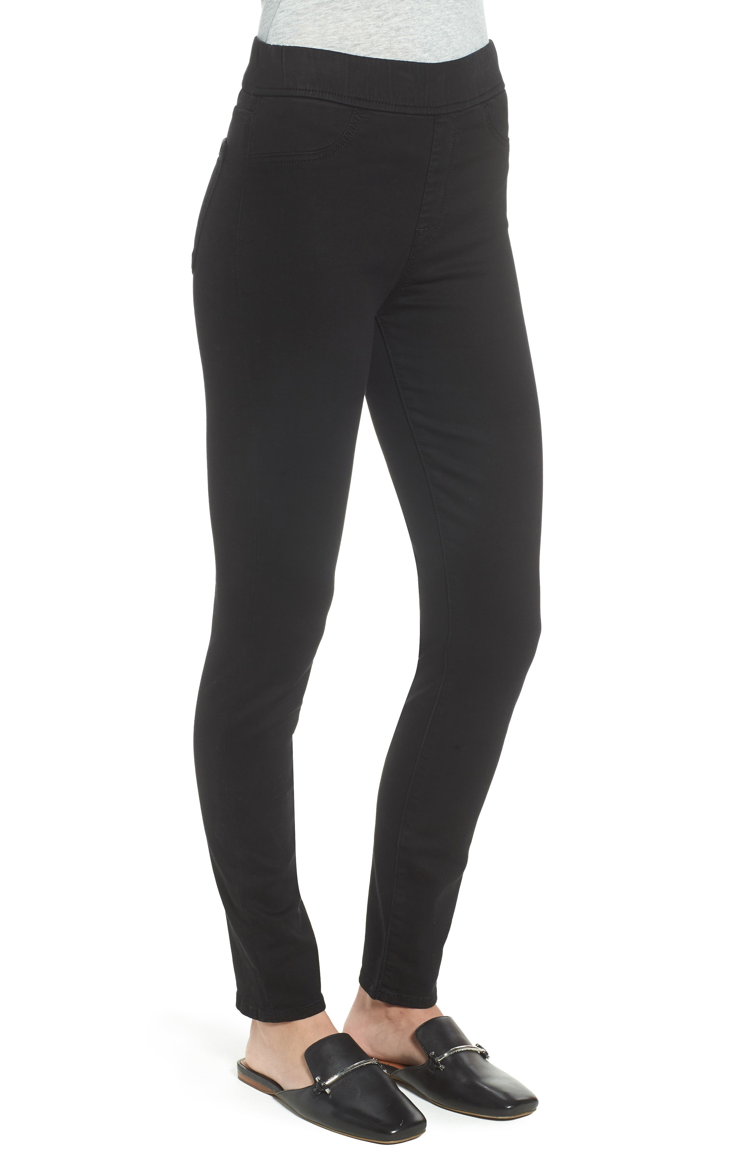 Comfort Skinny Denim Leggings,                             Alternate thumbnail 3, color,                             RICHE TOUCH BLACK NOIR
