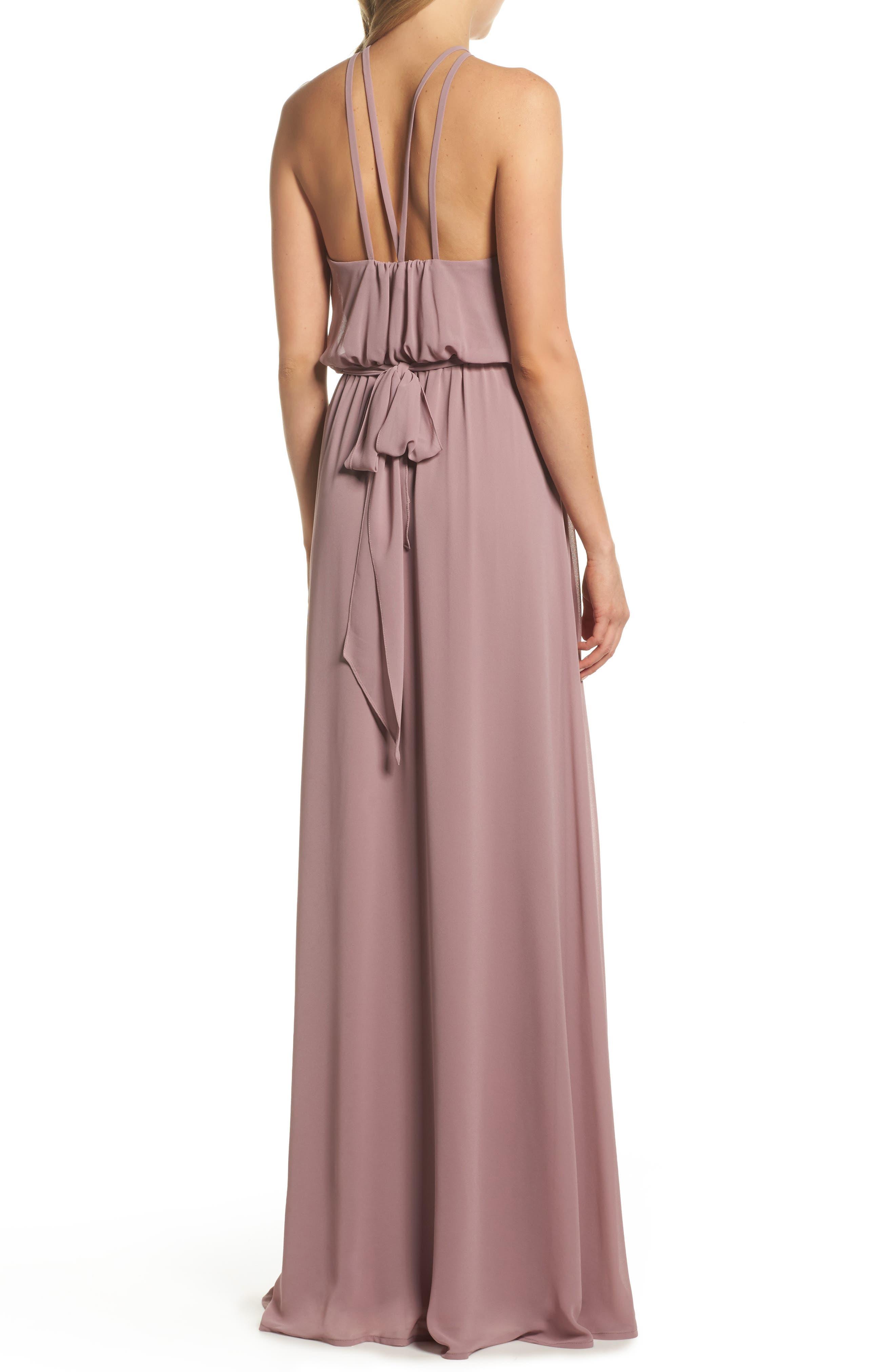 Halter Neck Chiffon Blouson Gown,                             Alternate thumbnail 3, color,