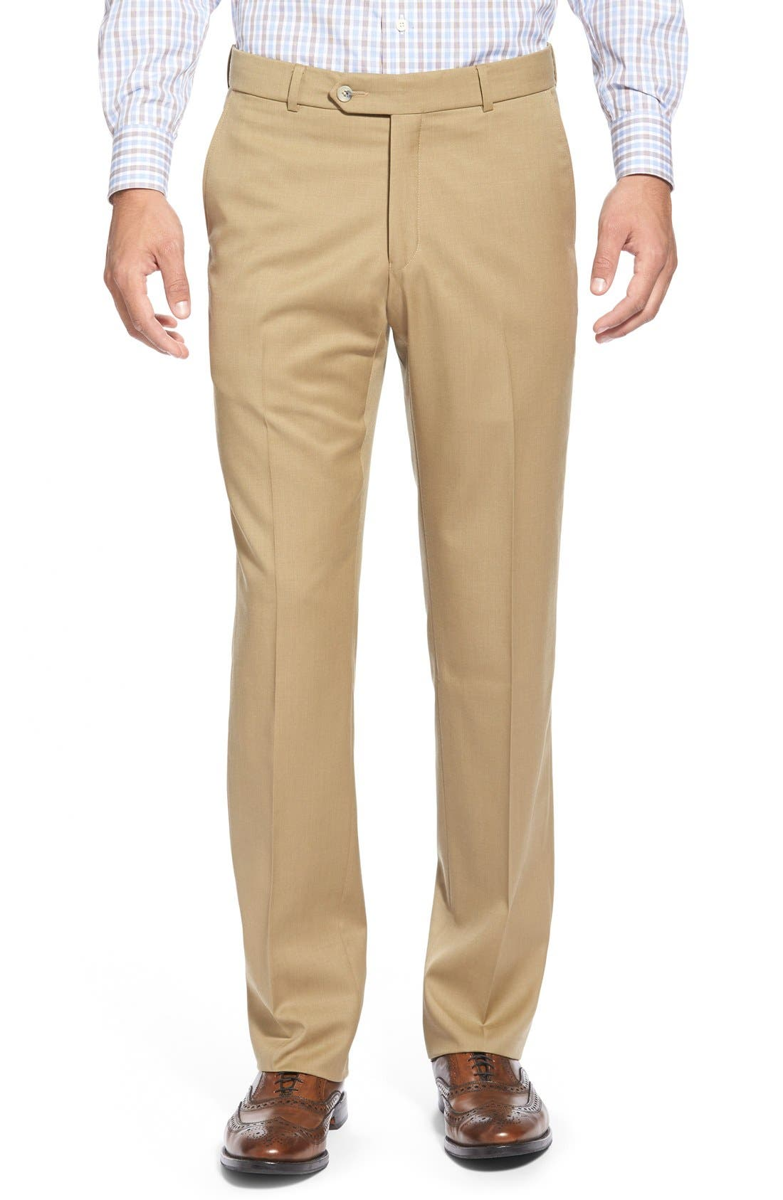 Flat Front Solid Wool Trousers,                             Main thumbnail 8, color,