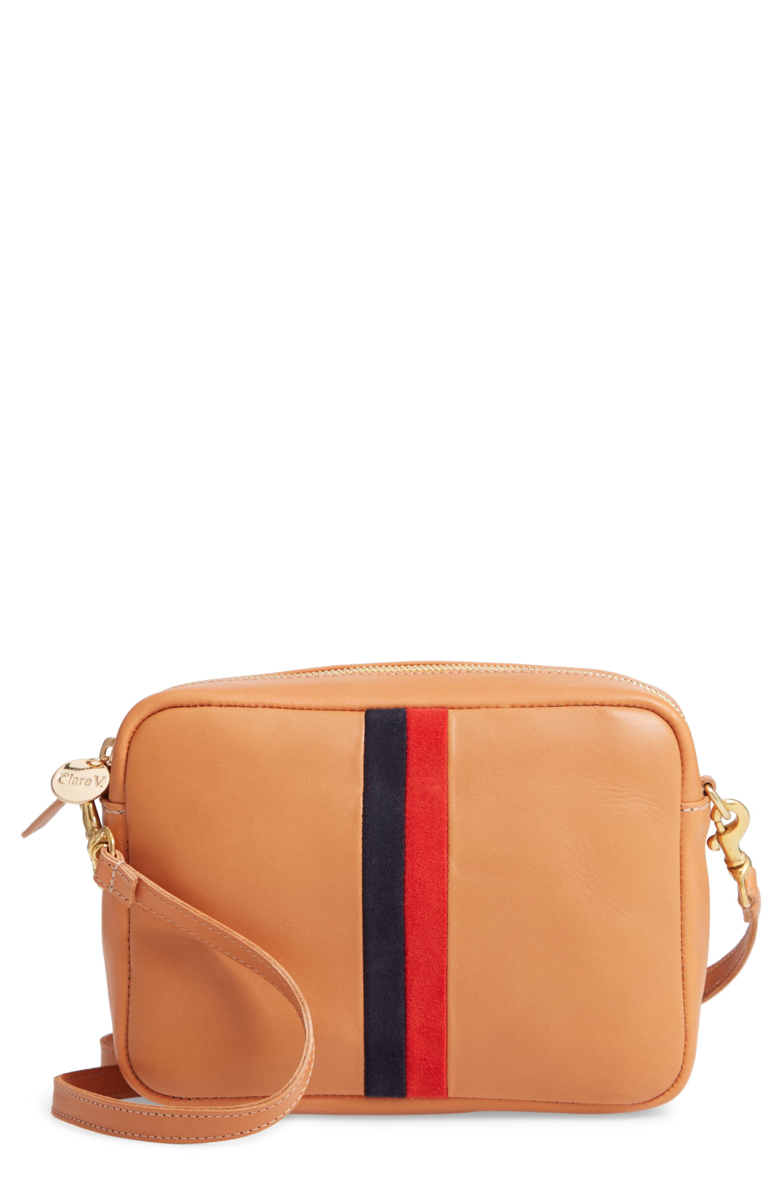 CLARE V Midi Sac Leather Crossbody Bag - Brown in Cuio Vachetta Stripe