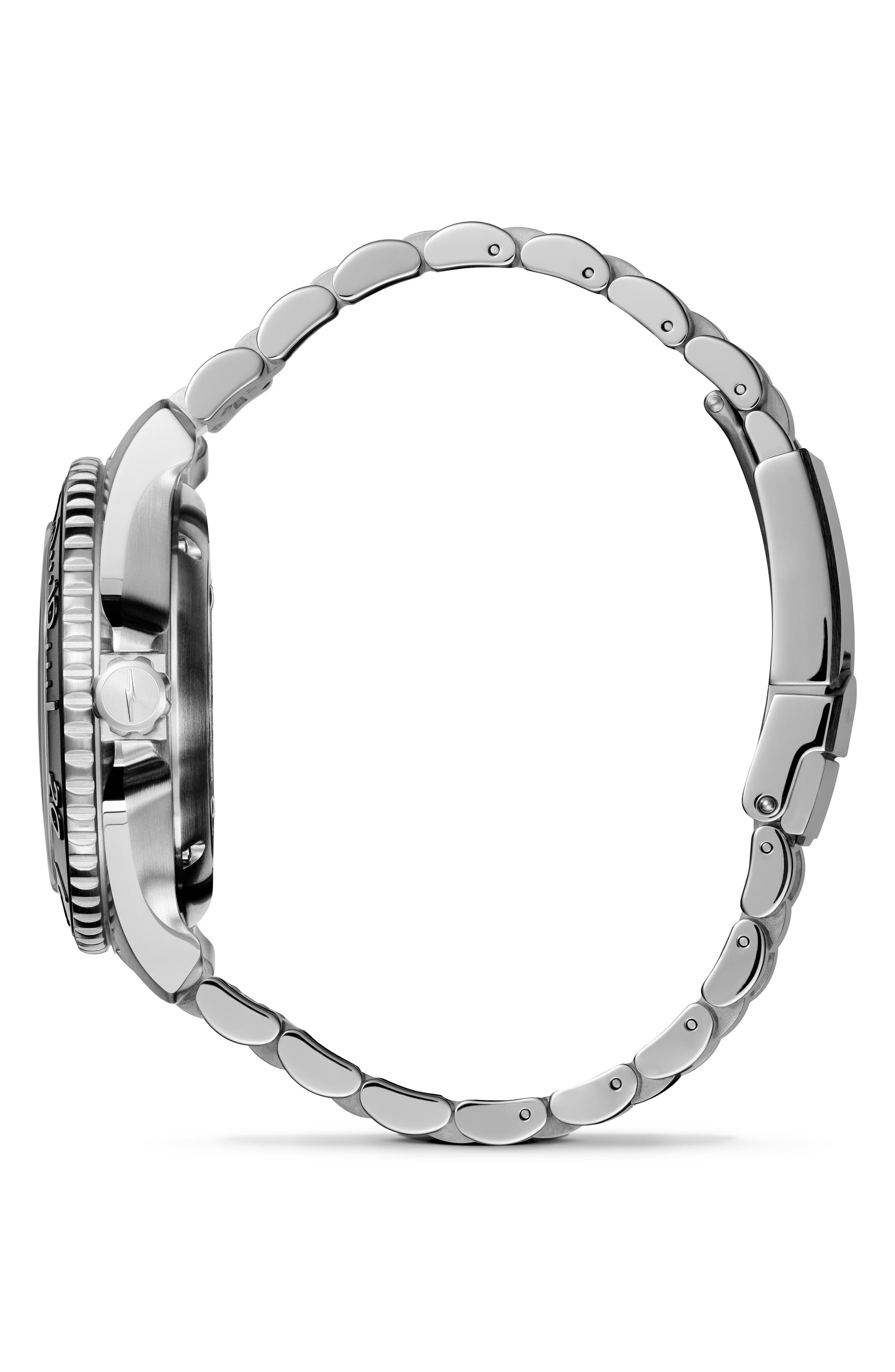 Monster Automatic Bracelet Watch, 43mm,                             Alternate thumbnail 3, color,                             SILVER/ BLACK