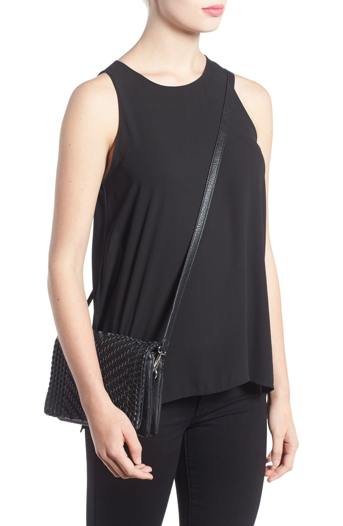 Woven Faux Leather Crossbody Bag,                             Alternate thumbnail 3, color,                             001