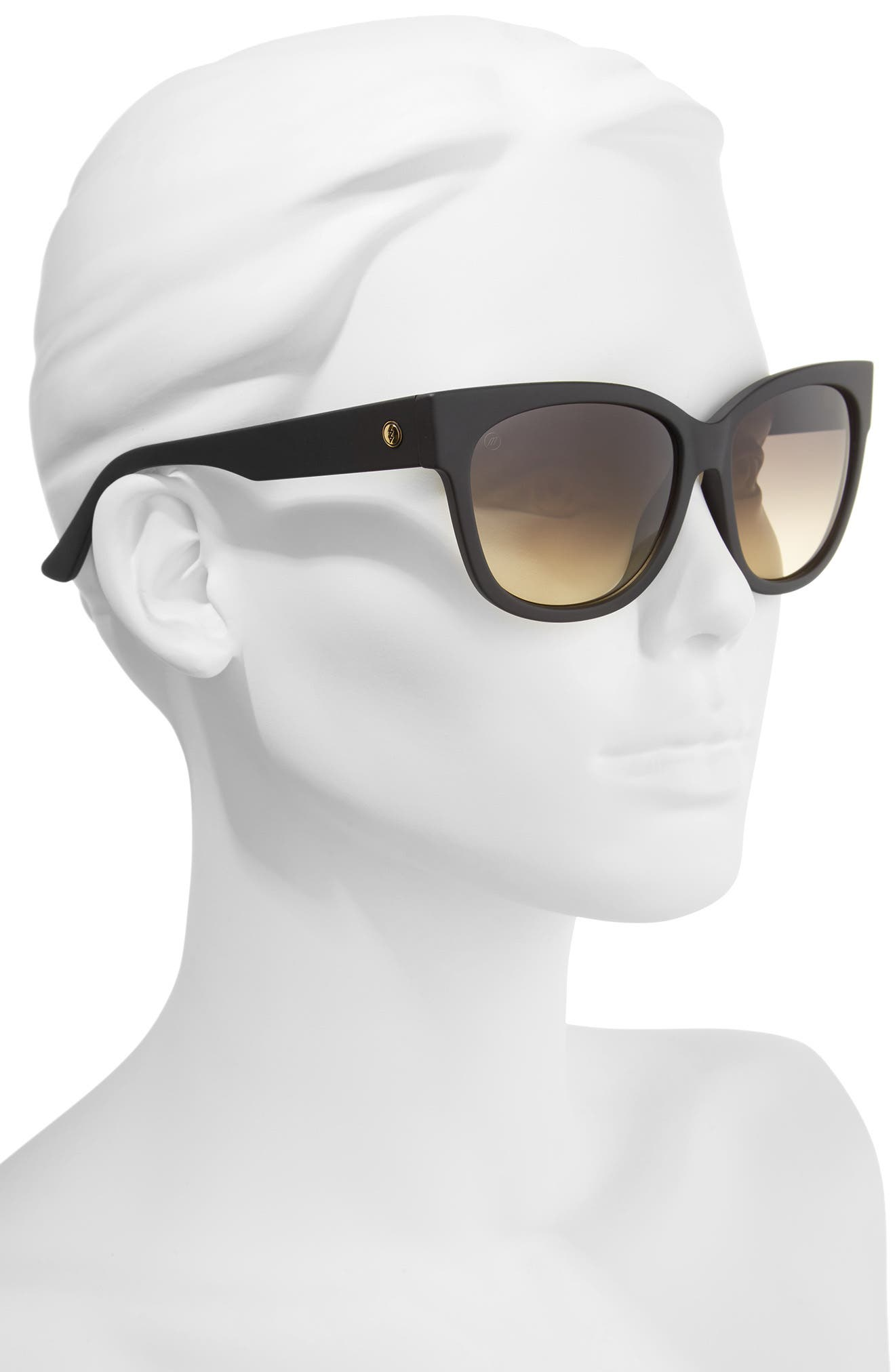 'Danger Cat' 58mm Cat Eye Sunglasses,                             Alternate thumbnail 2, color,                             MATTE BLACK/ BLACK GRADIENT