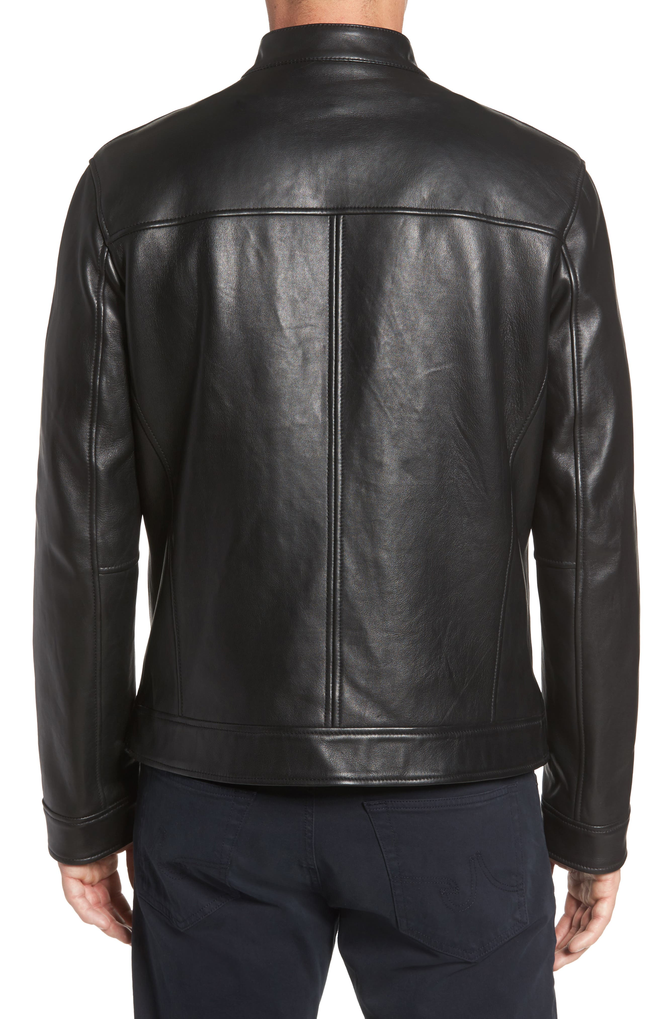 Bonded Leather Moto Jacket,                             Alternate thumbnail 2, color,                             BLACK