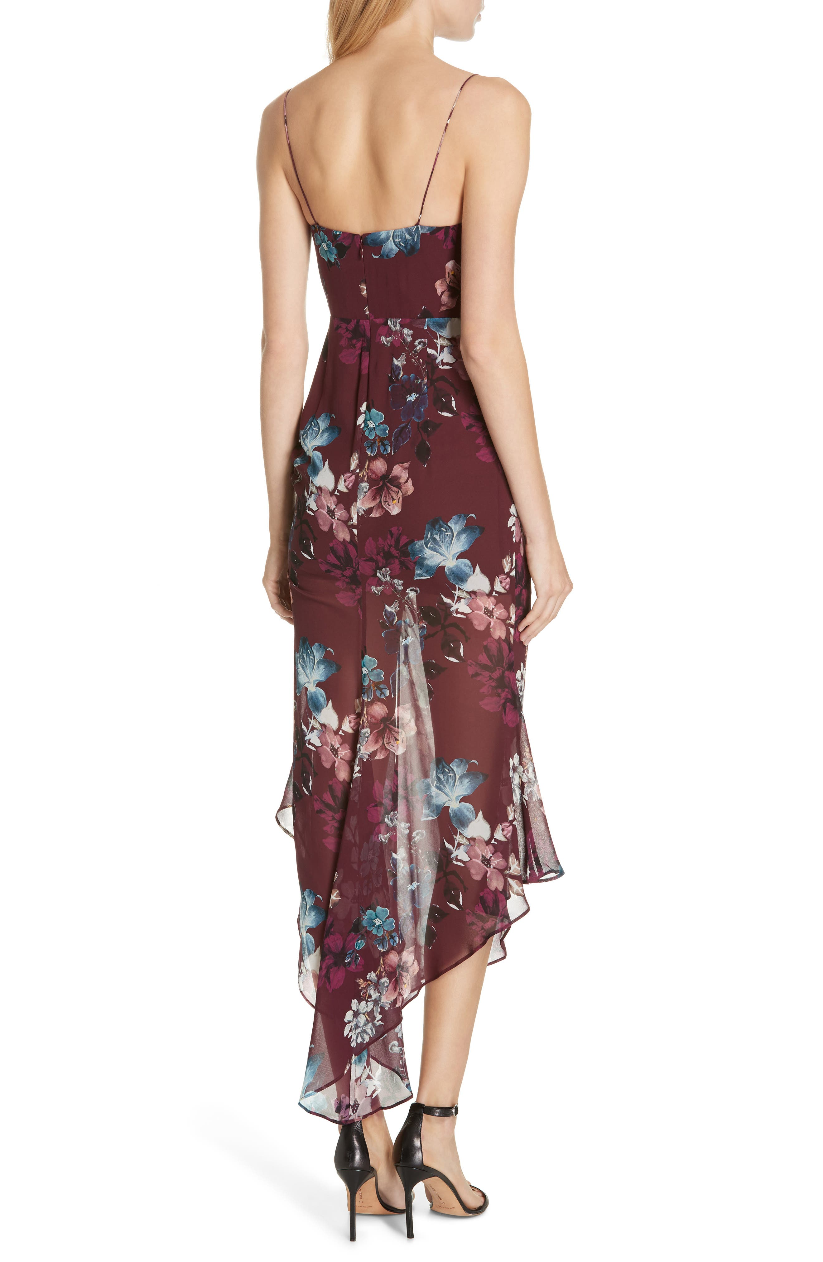 Floral Silk Drawstring Dress,                             Alternate thumbnail 2, color,                             930