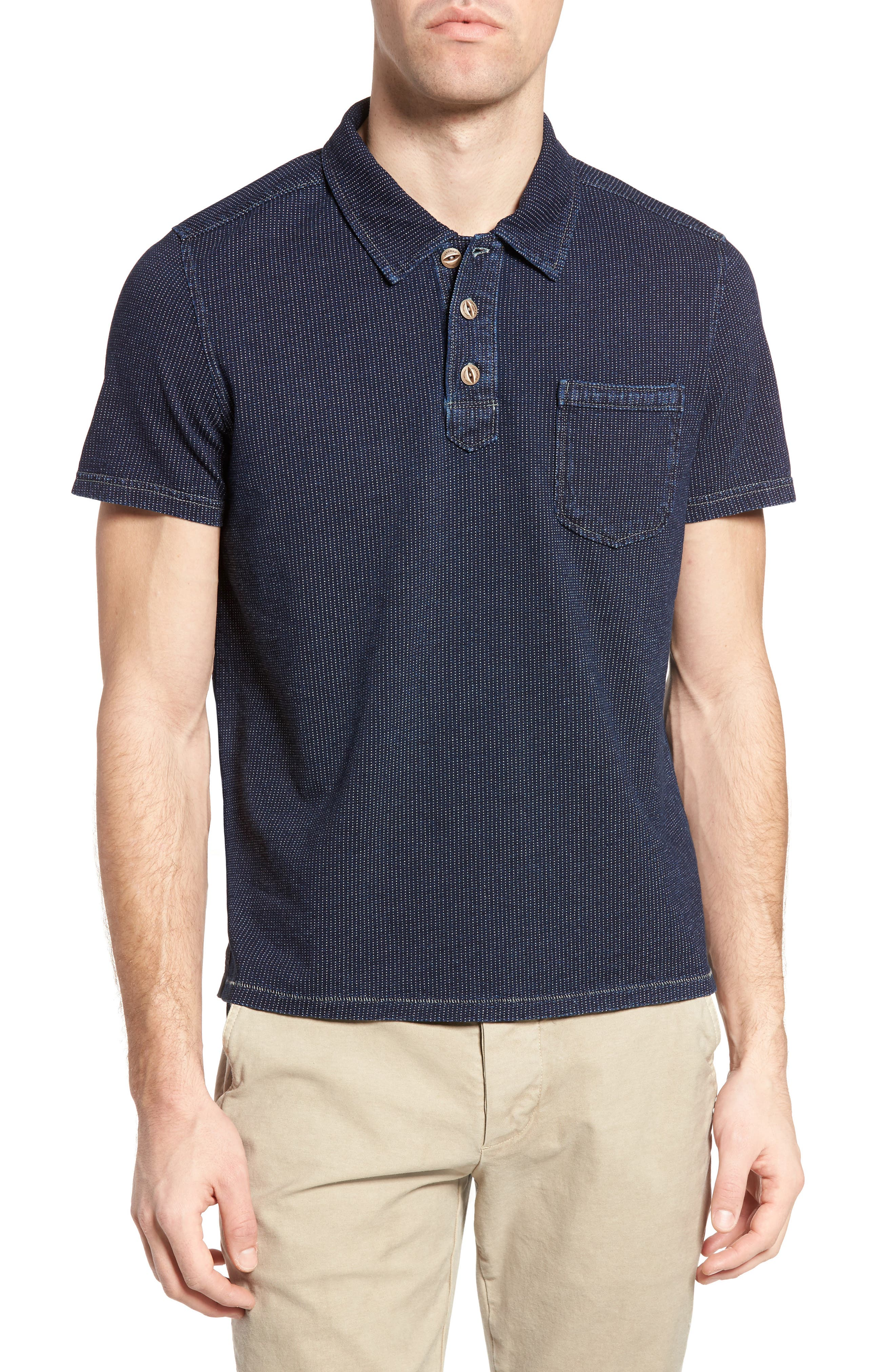 Humboldt Indigo Jacquard Polo,                             Main thumbnail 1, color,                             419