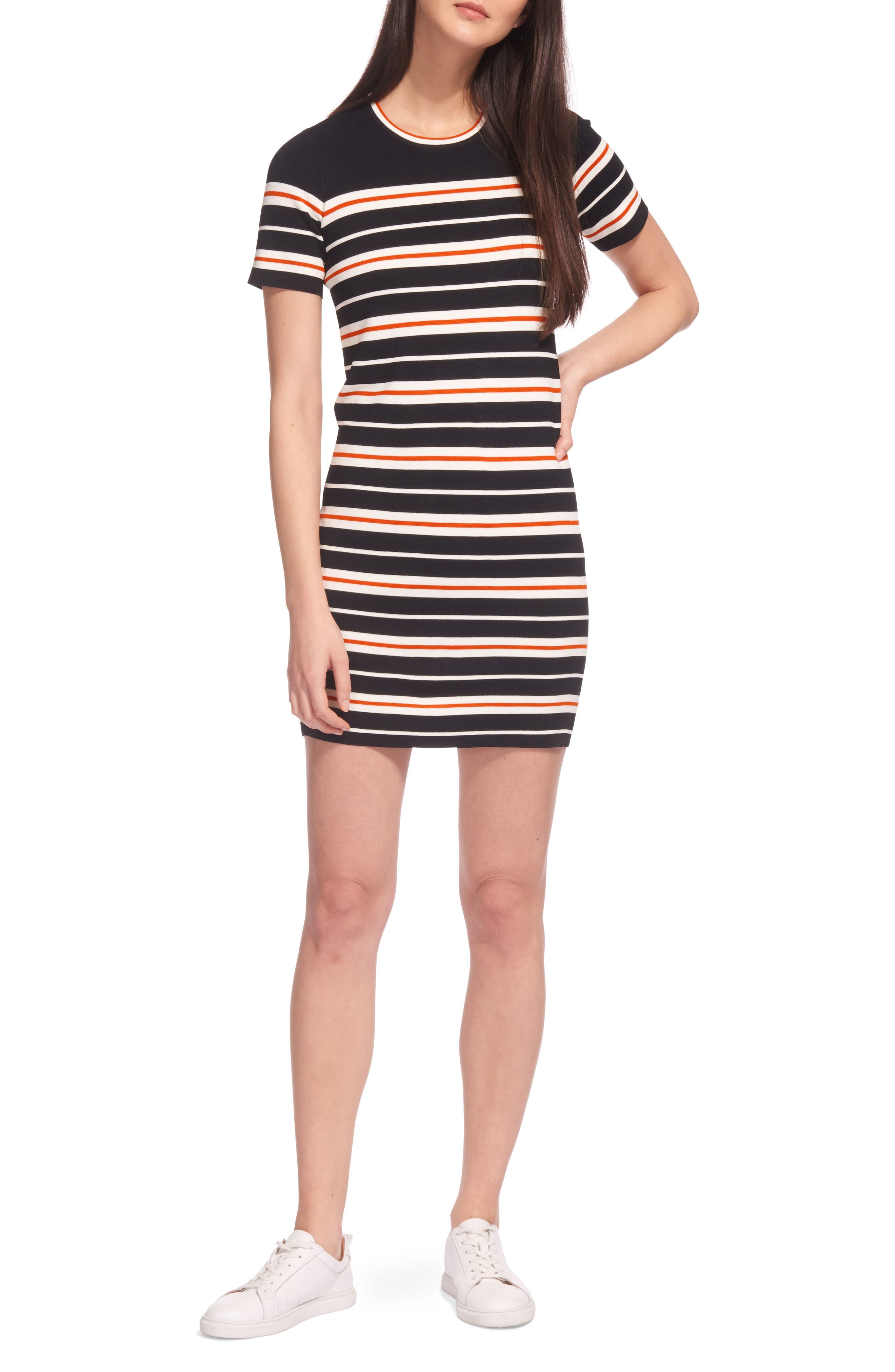 Milano Stripe Knit Dress,                             Main thumbnail 1, color,                             001