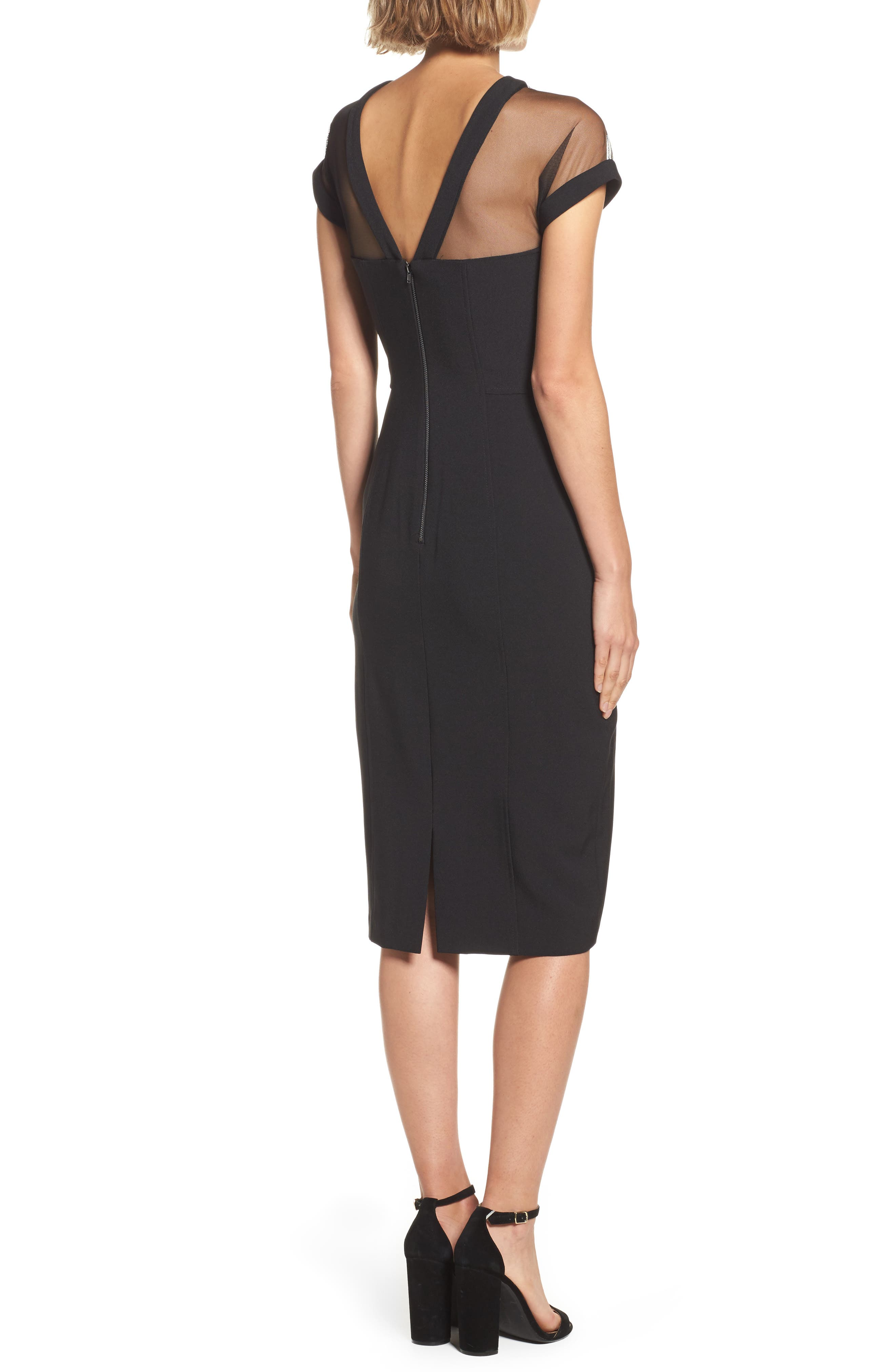 Illusion Yoke Crepe Sheath Dress,                             Alternate thumbnail 2, color,                             BLACK