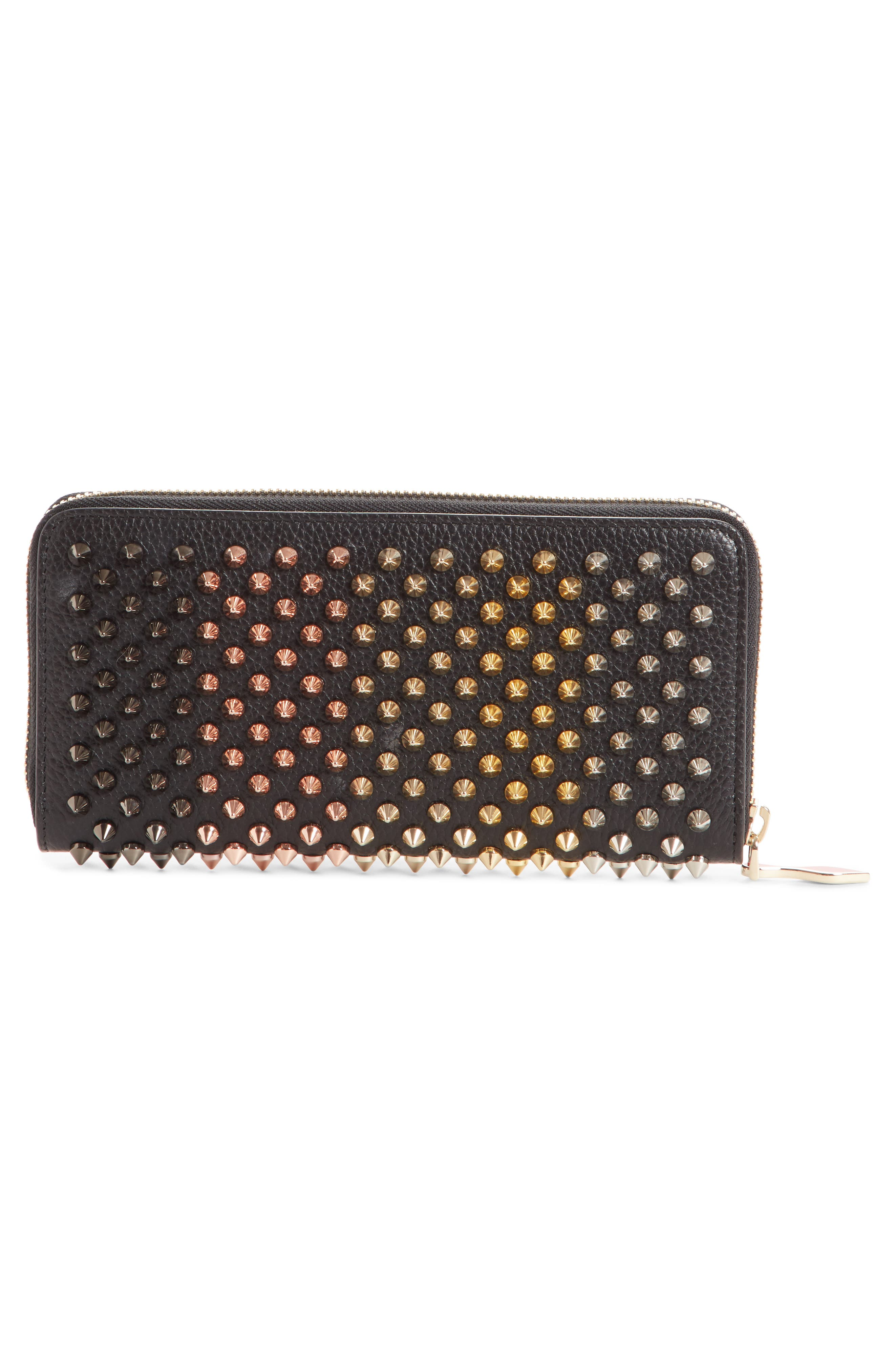 Panettone Spiked Leather Wallet,                             Alternate thumbnail 2, color,                             BLACK/ MULTIMETAL