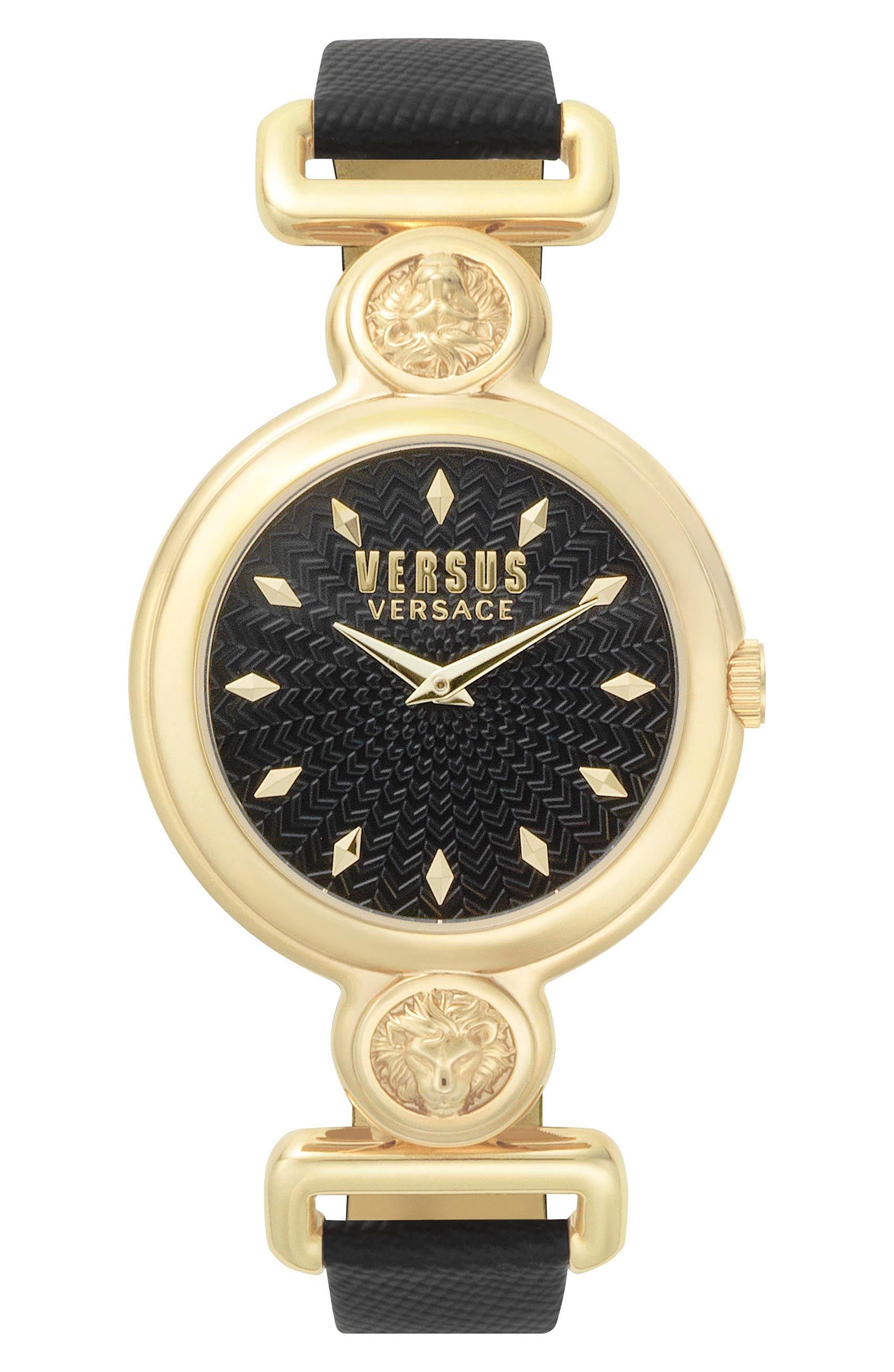 Sunnyridge Leather Strap Watch, 34mm,                         Main,                         color, BLACK/ GOLD