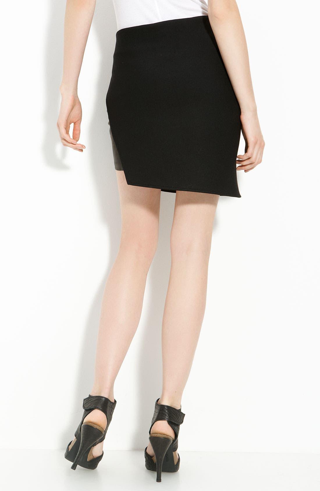 Leather Panel Ponte Knit Skirt,                             Alternate thumbnail 2, color,                             001