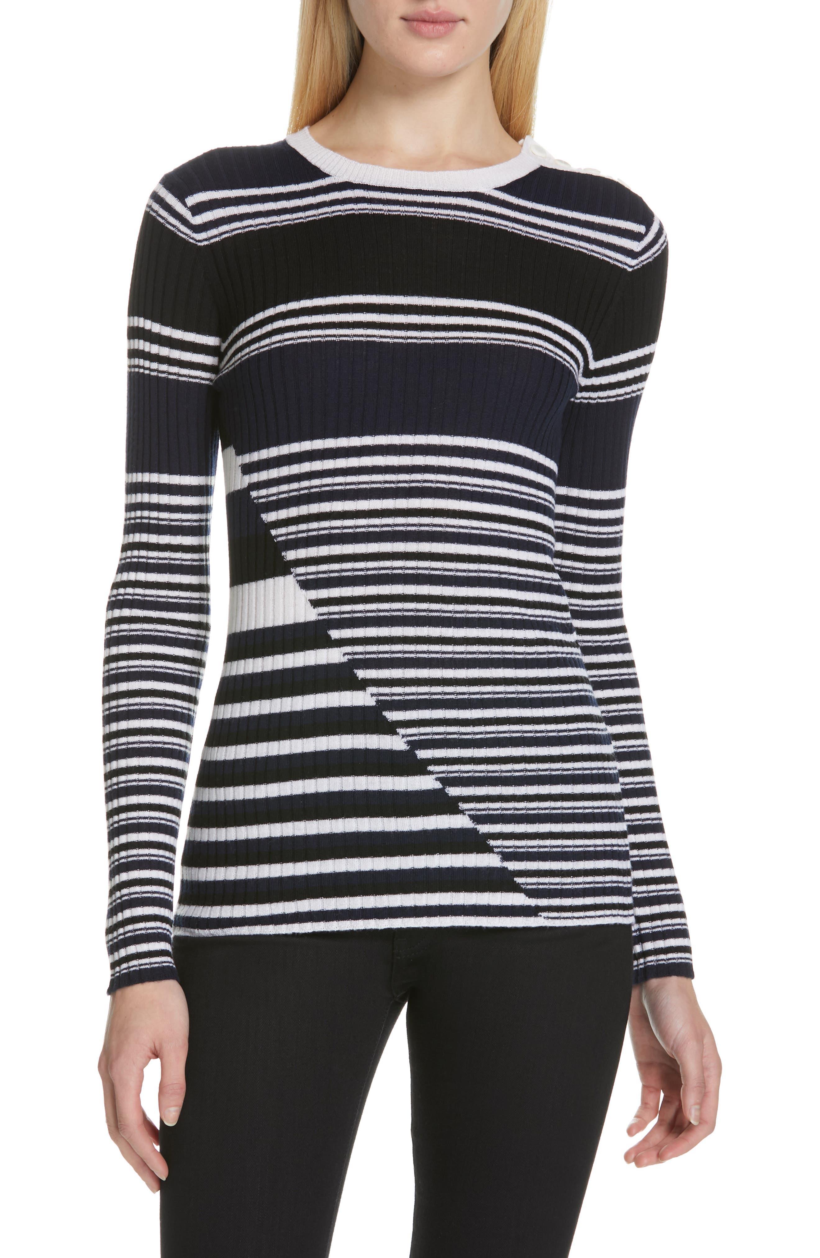 Equipment Desmond Stripe Wool Sweater, Blue