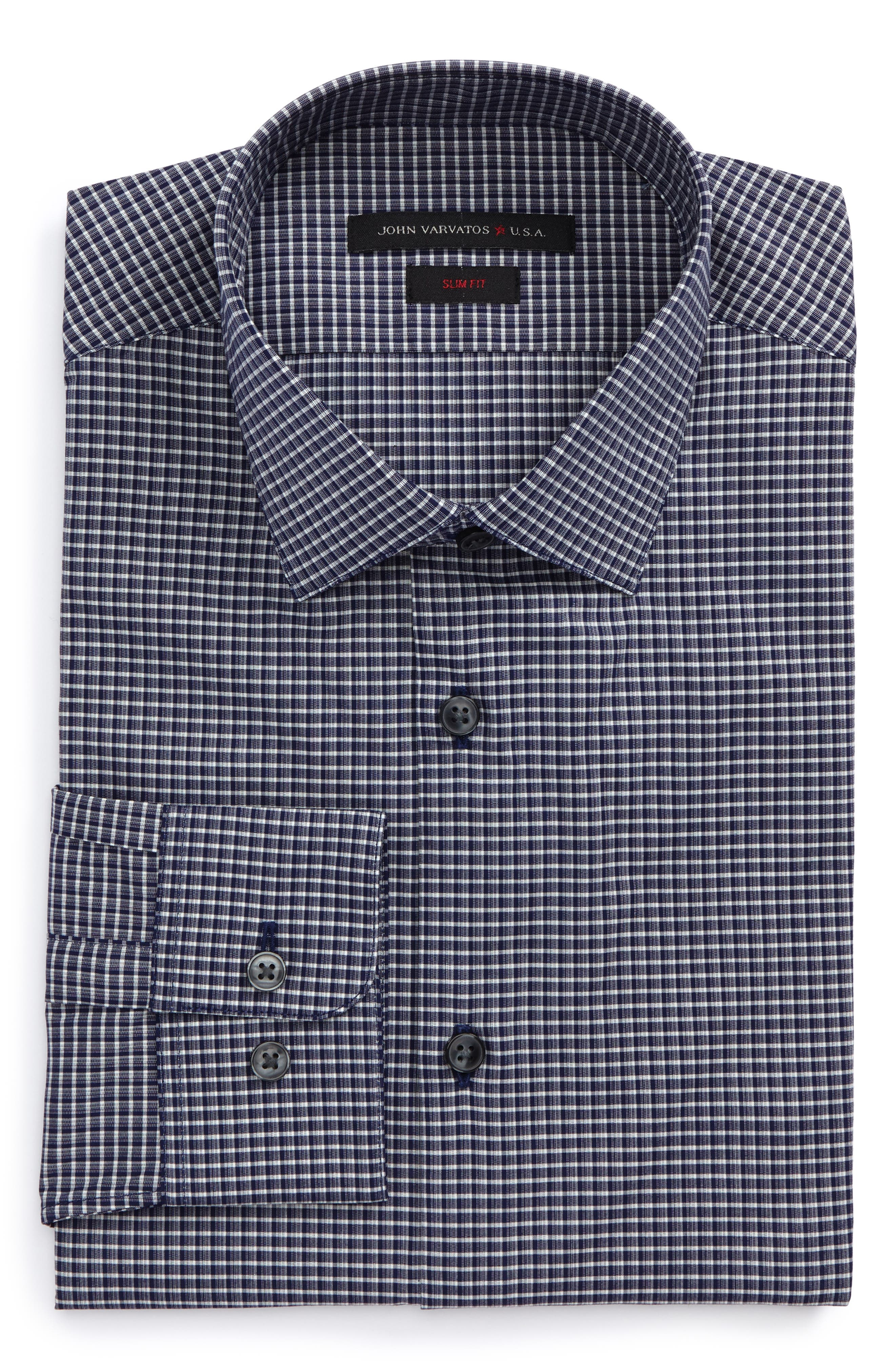 Slim Fit Stretch Check Dress Shirt,                             Main thumbnail 1, color,                             410
