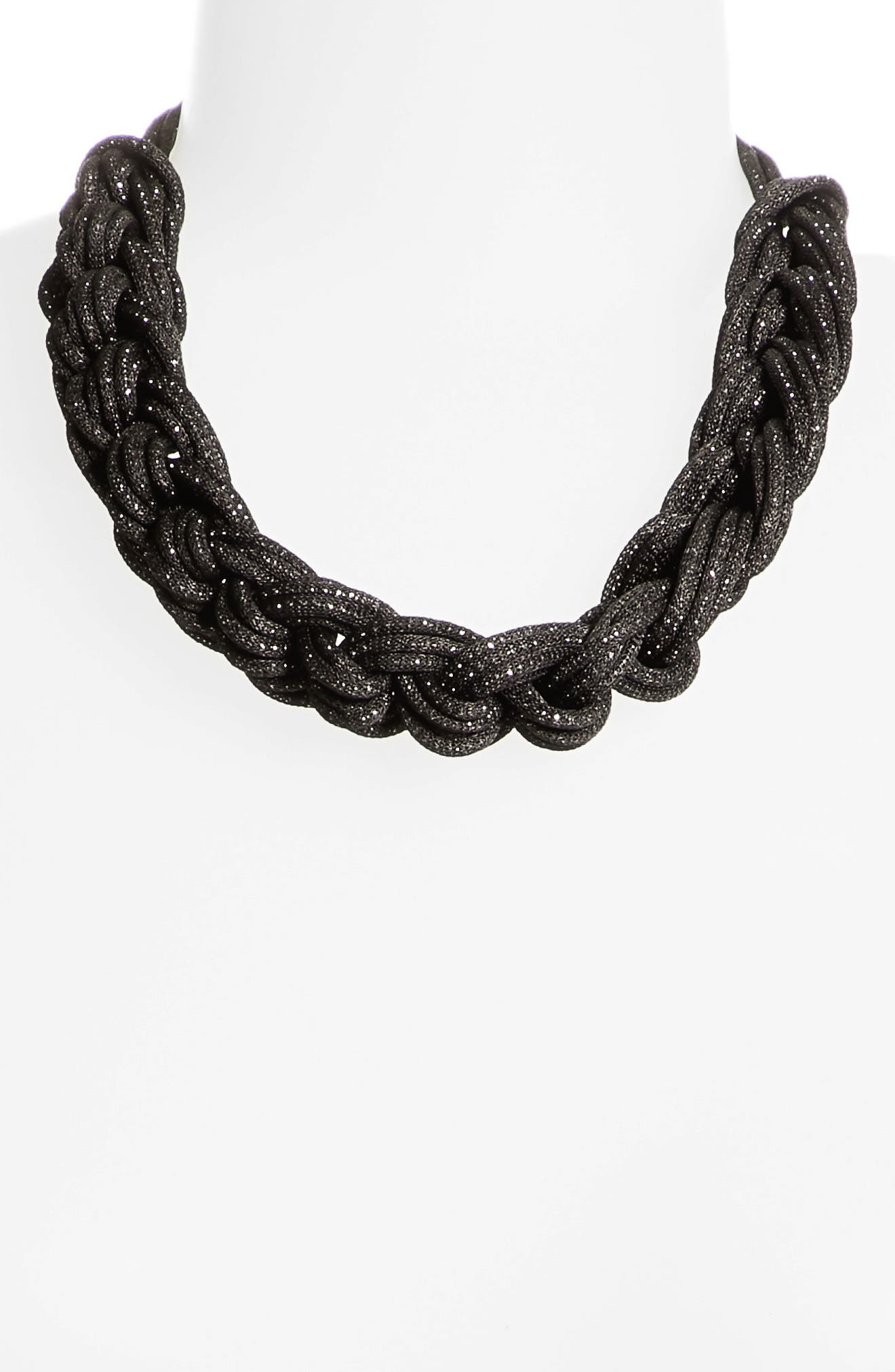 Braided Mesh Necklace,                             Alternate thumbnail 2, color,                             001