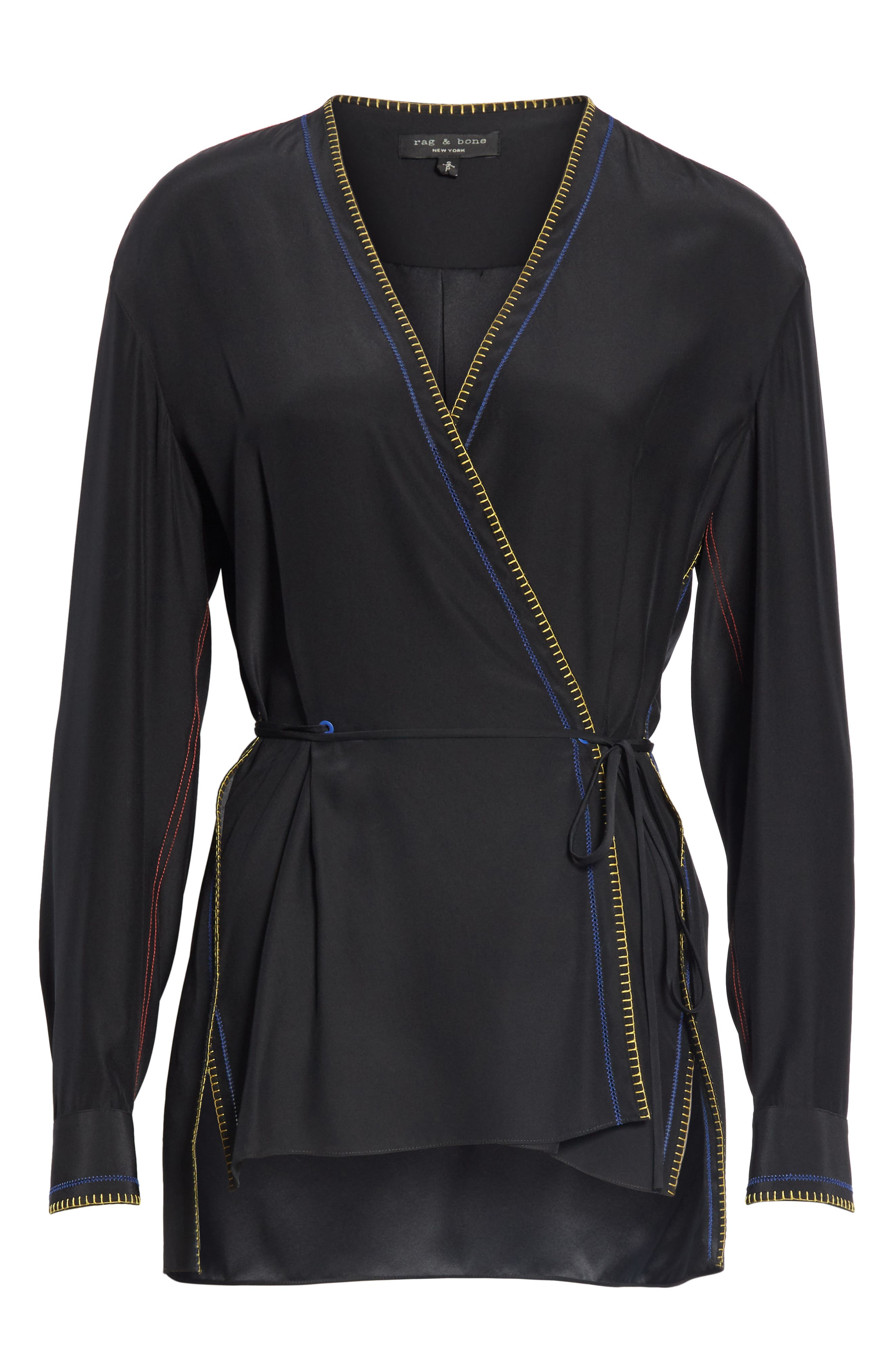 Lina Embroidered Silk Wrap Blouse,                             Alternate thumbnail 6, color,                             BLACK