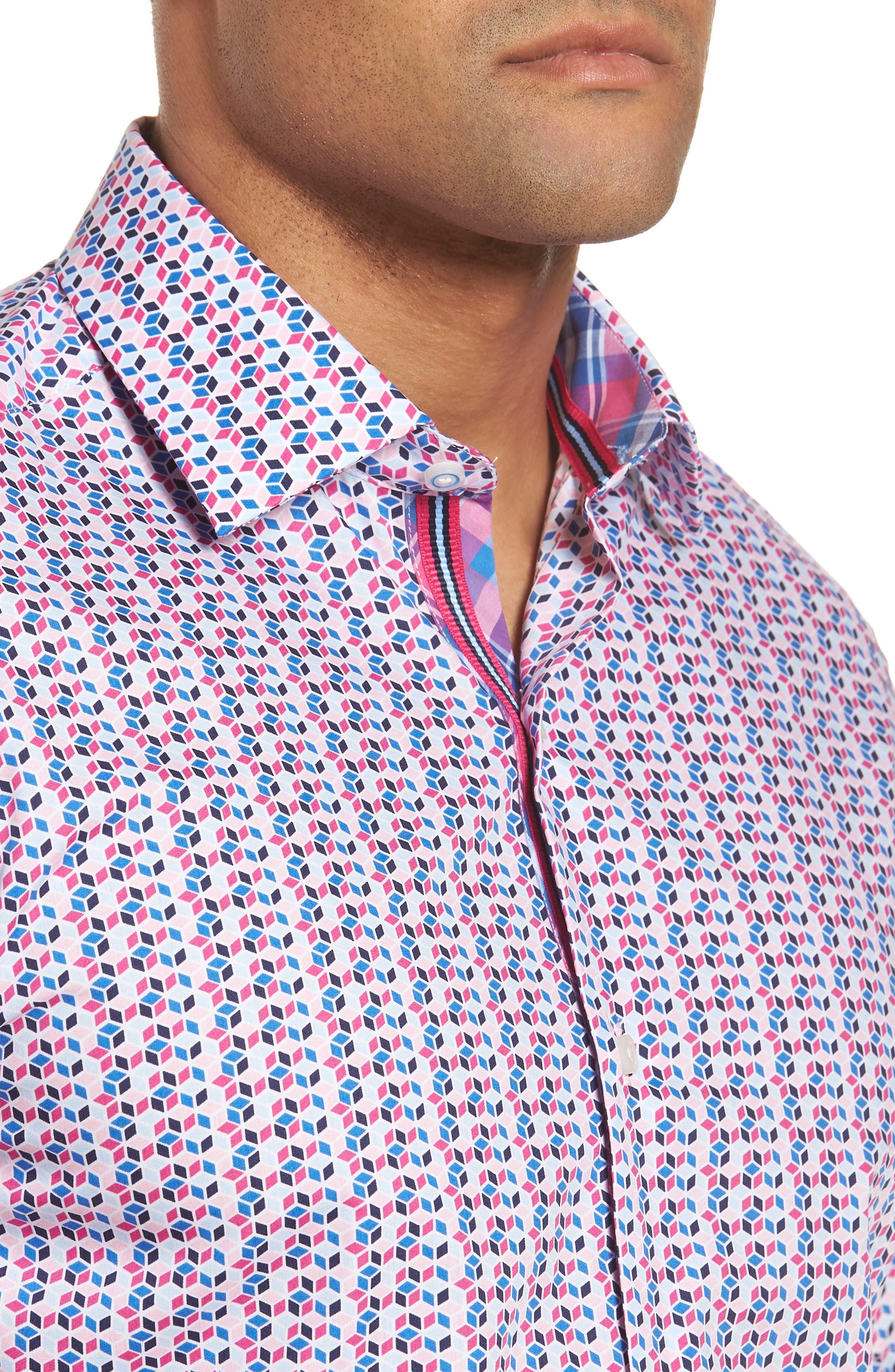 Slater Regular Fit Print Sport Shirt,                             Alternate thumbnail 4, color,                             650