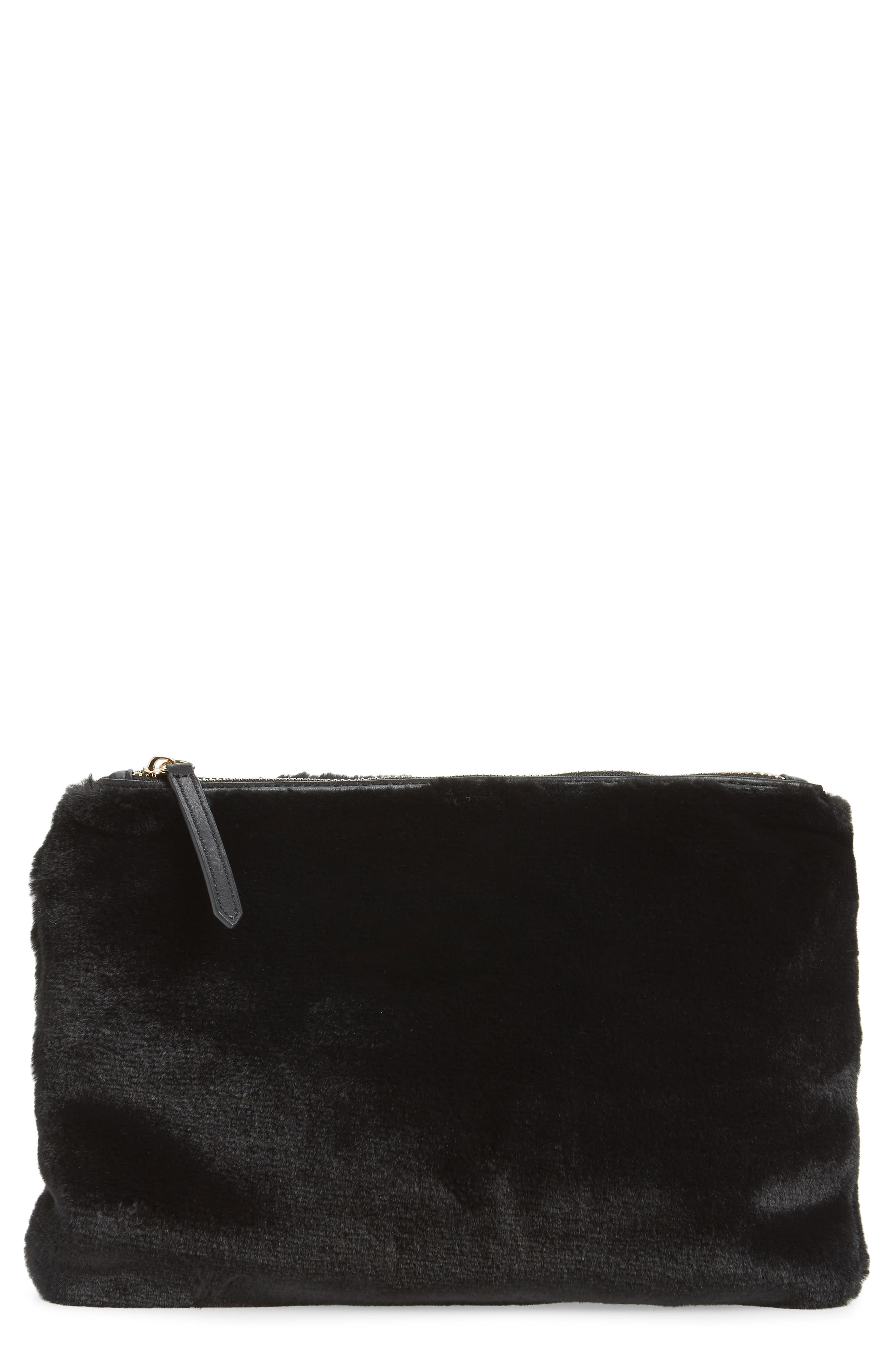 Jen Faux Fur Pouch,                             Main thumbnail 1, color,                             BLACK