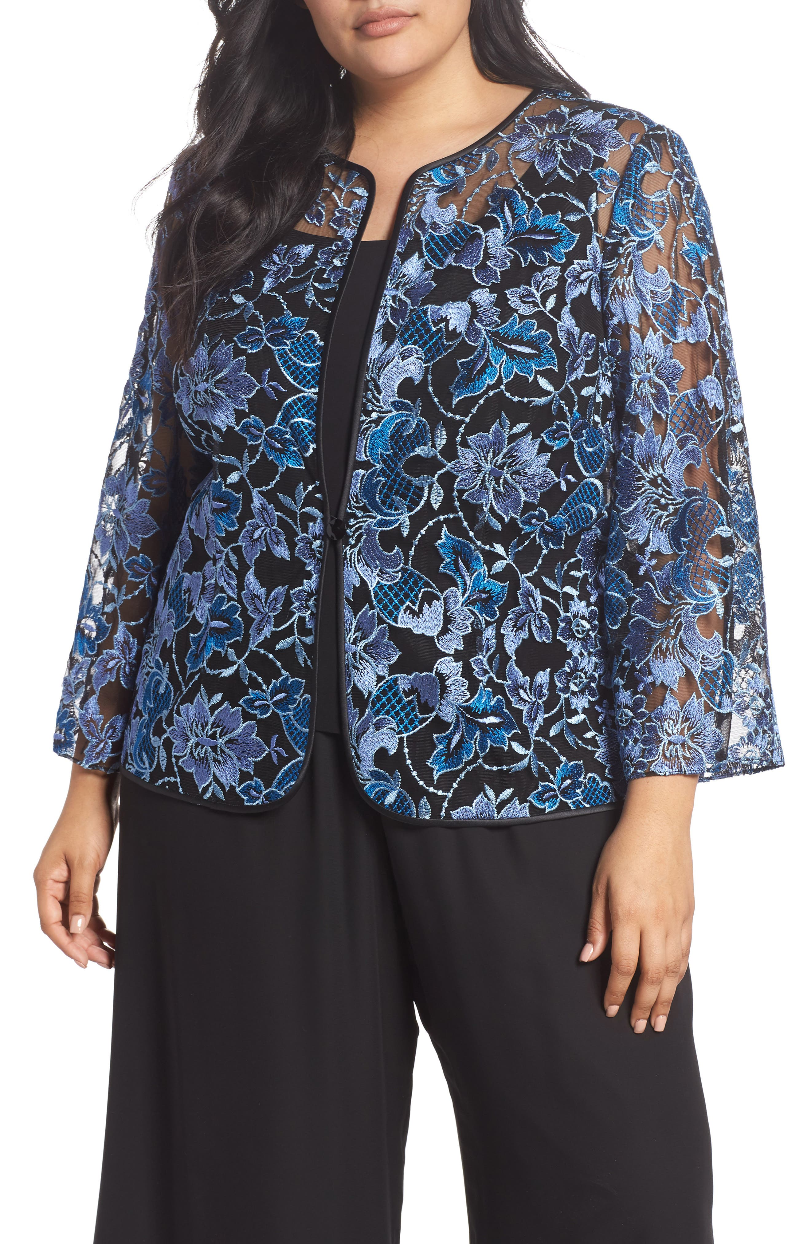 d06bfd0b70a UPC 041765000089 product image for Plus Size Women s Alex Evenings Floral Embroidered  Twinset