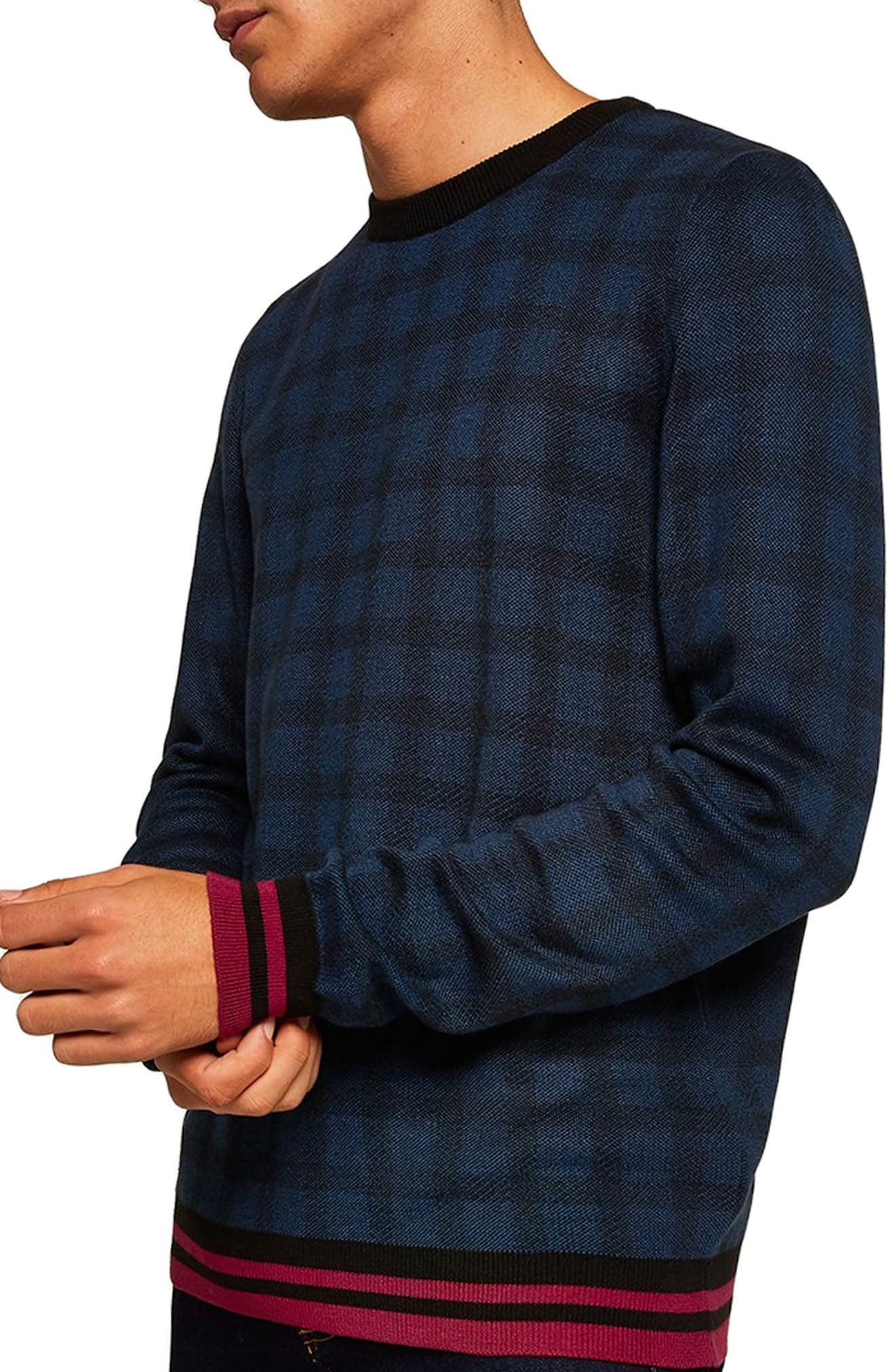 Check Print Classic Fit Sweater,                             Main thumbnail 1, color,                             BLUE MULTI