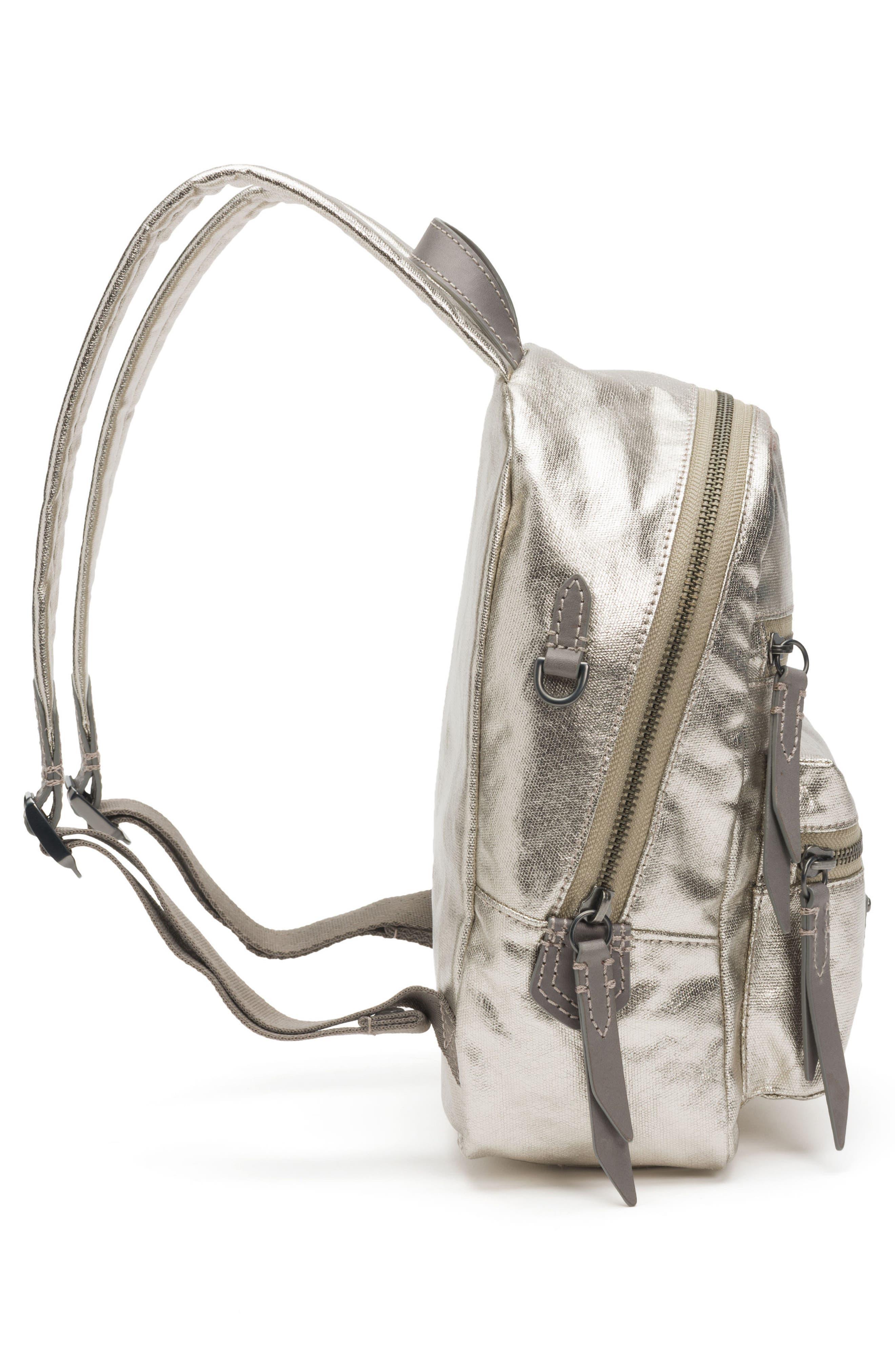 Mini Ivy Metallic Nylon Backpack,                             Alternate thumbnail 5, color,                             PEWTER